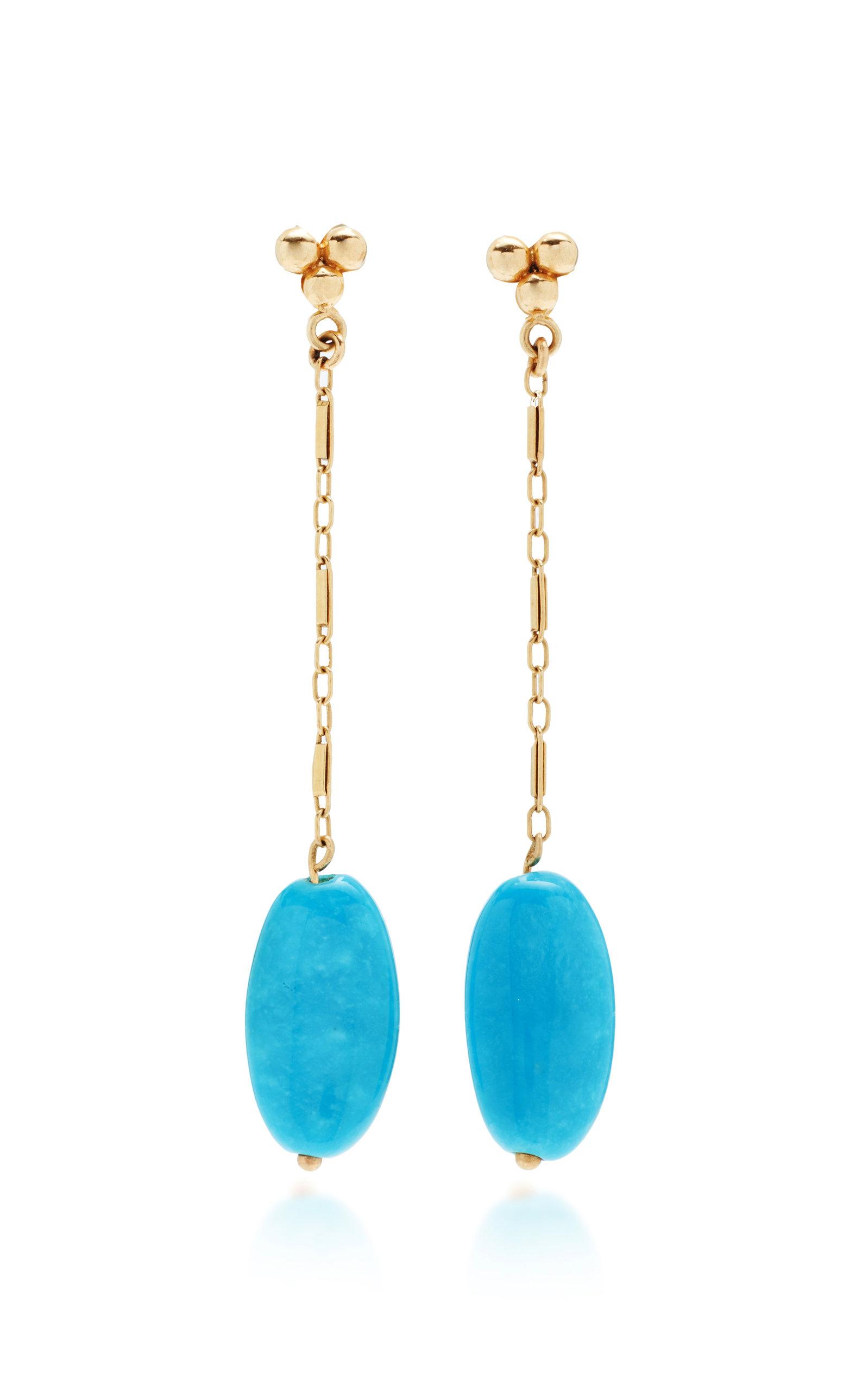 Women's Vintage 18K Yellow Gold Turquoise Earrings