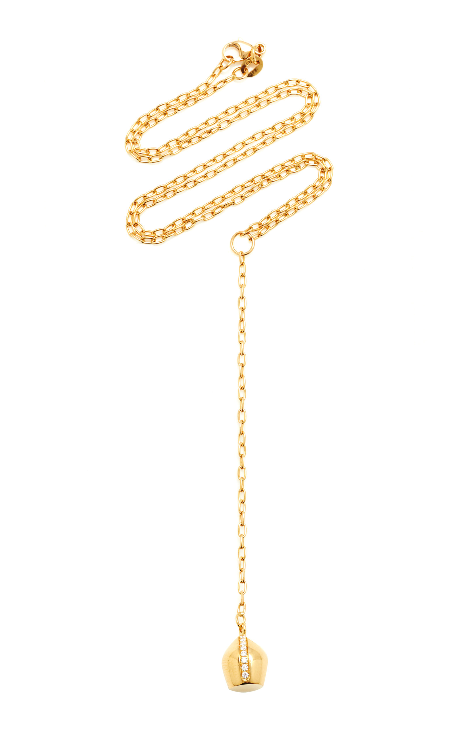 Women's Lune 18K Yellow Gold Pavé Diamond Lariat Necklace
