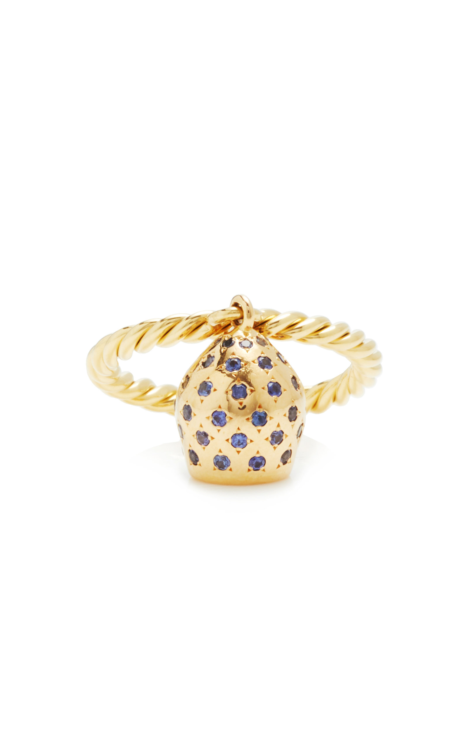 Women's Lune 18K Yellow Gold Pavé Sapphire Charm Ring