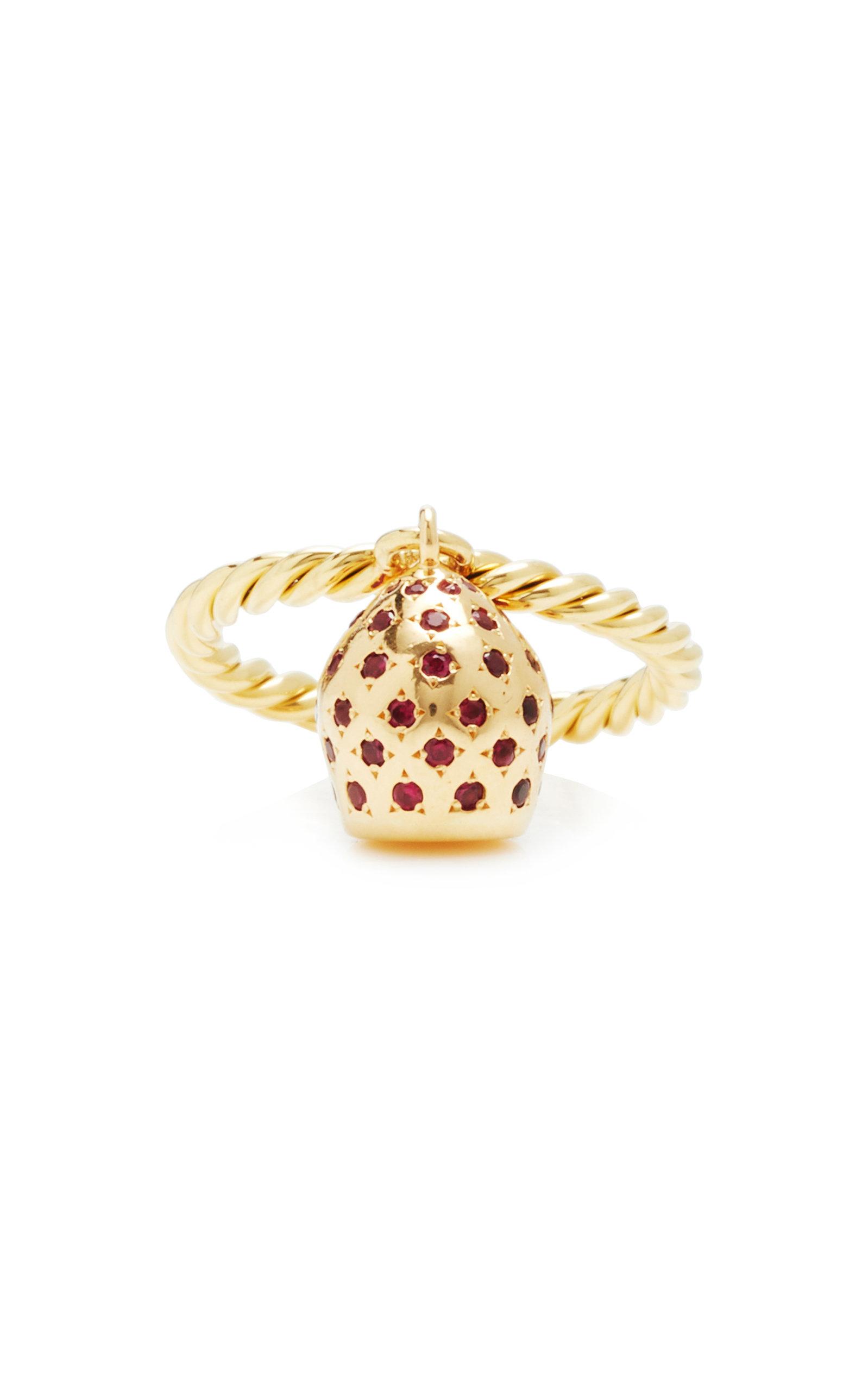 Women's Lune 18K Yellow Gold Pavé Ruby Charm Ring