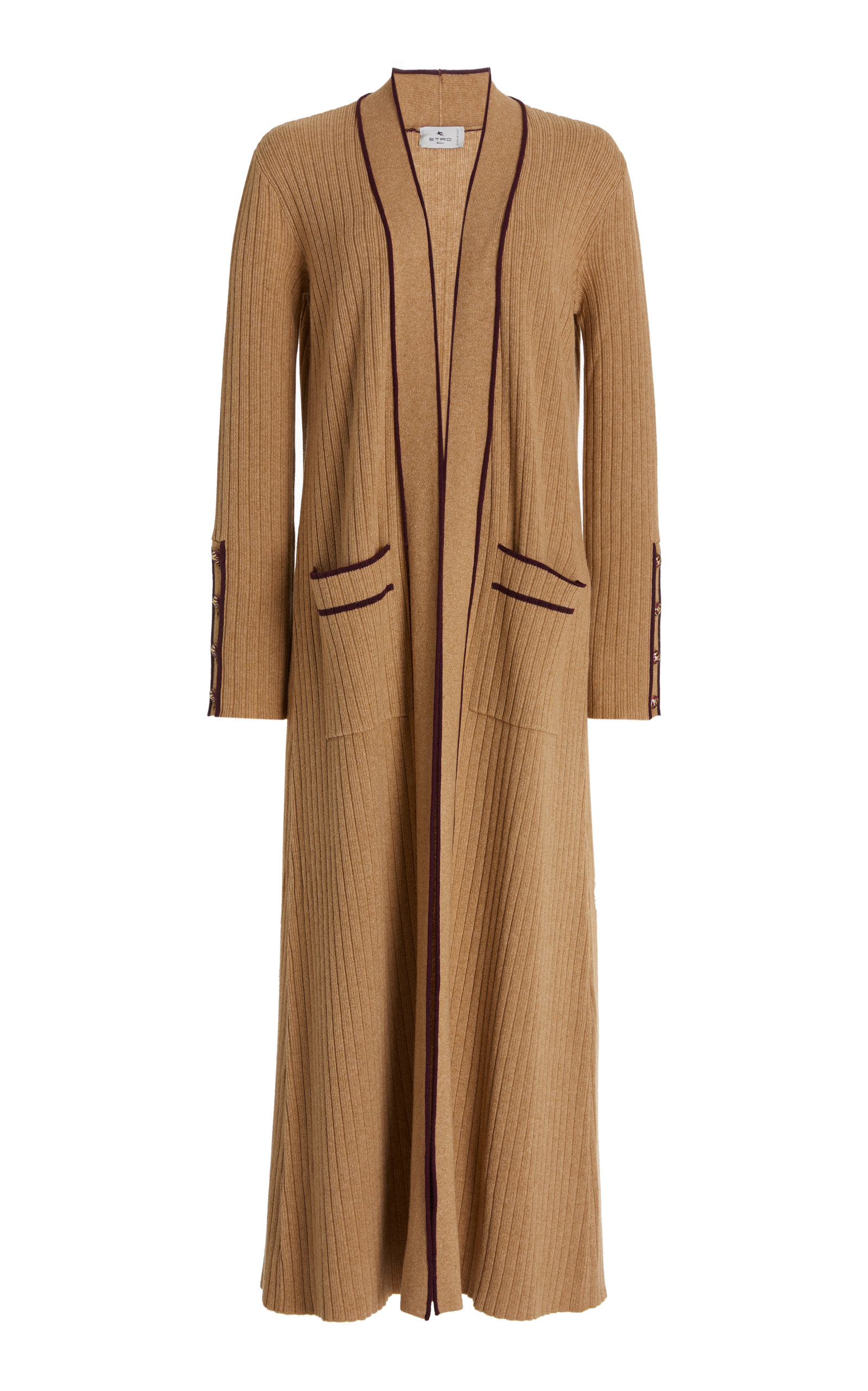 Etro Women's Contrast-tipped Ribbed-knit Long Cardigan In Neutral