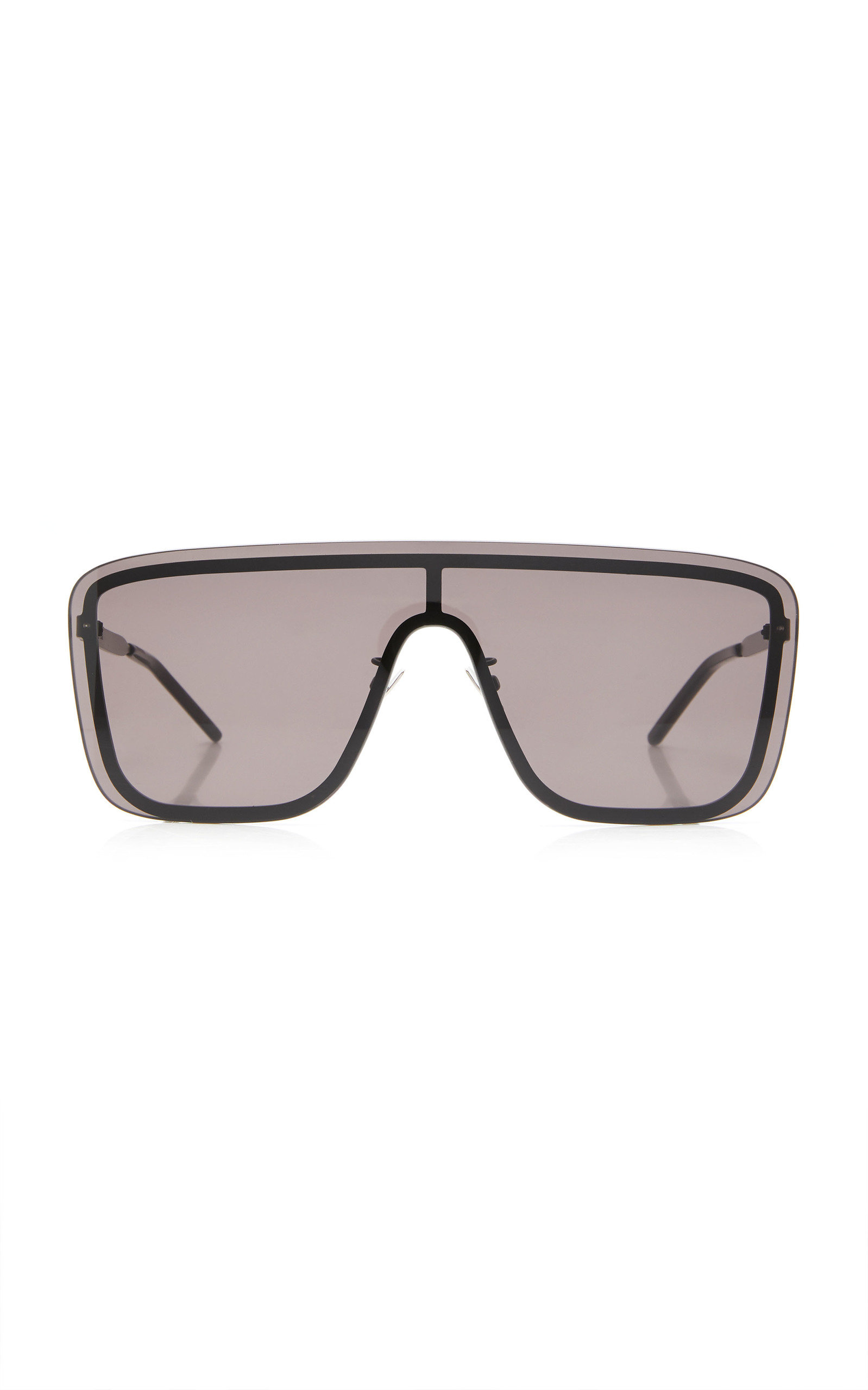 Saint Laurent - Women's Mask D-Frame Metal Sunglasses - Black/gold - Moda Operandi
