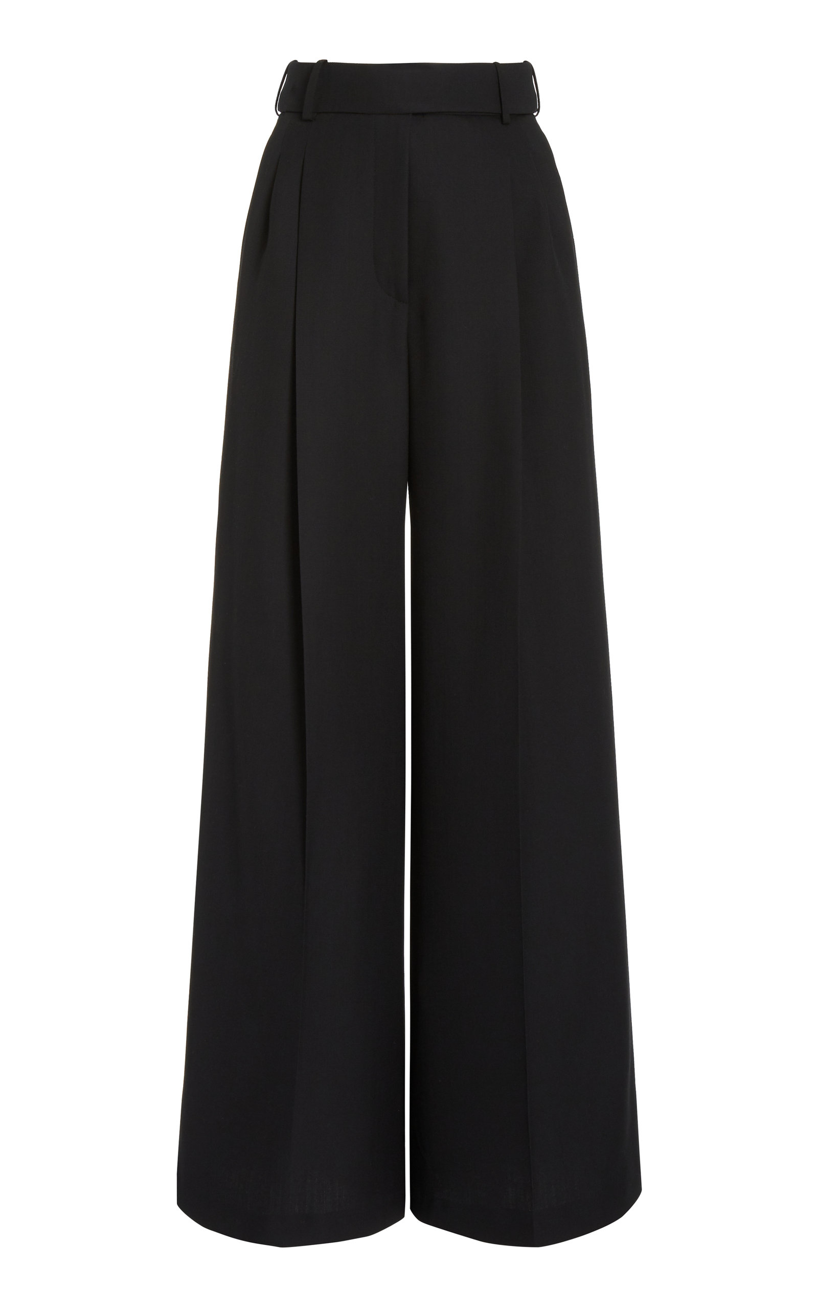 Alexandre Vauthier Pleated Wool Wide-leg Trousers In Black