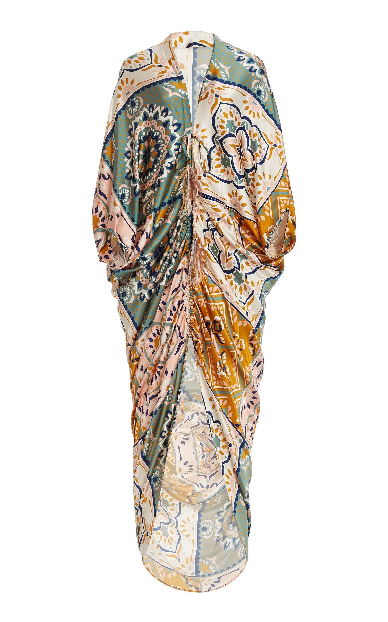 SILVIA TCHERASSI CLOISTER FEATHER-TIPPED MOSAIC-PRINT SILK SATIN MAXI DRESS