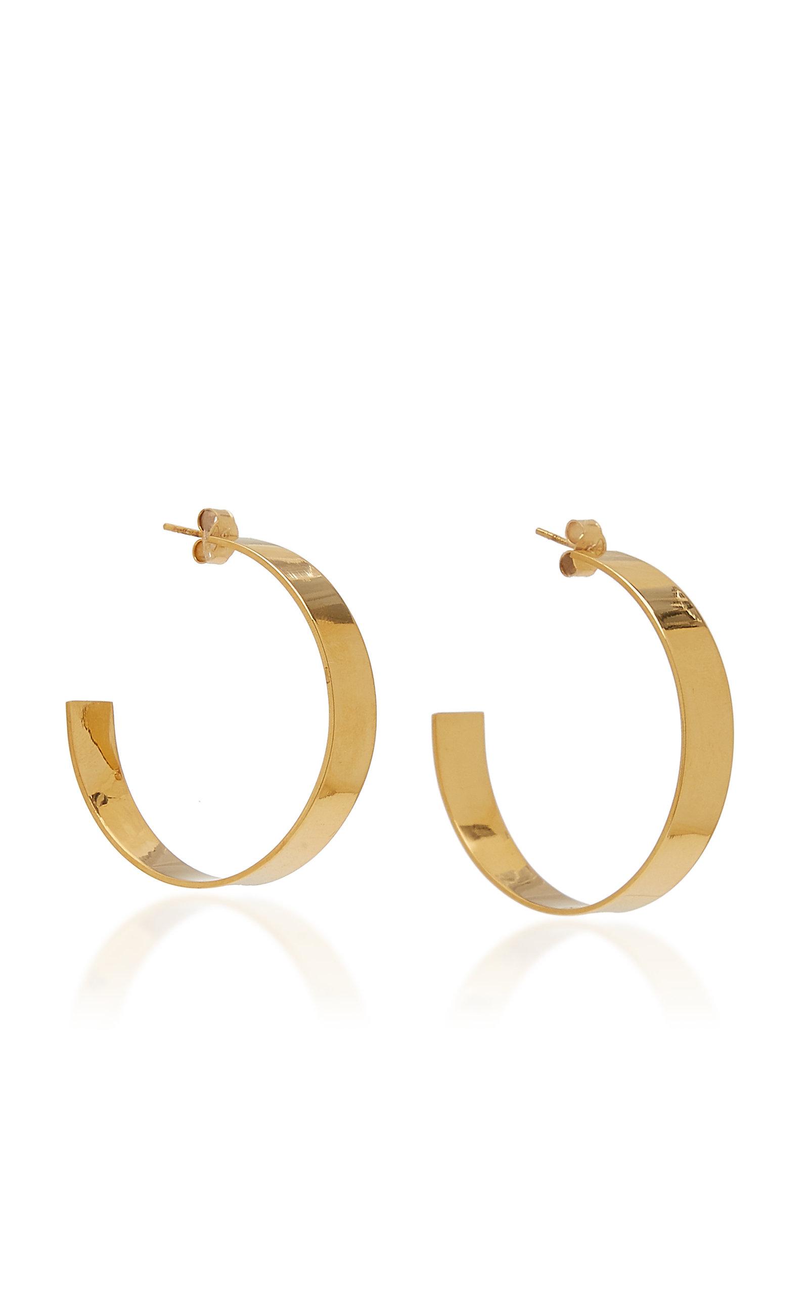 Women's Large Plain Gold-Plated Hoop Earrings