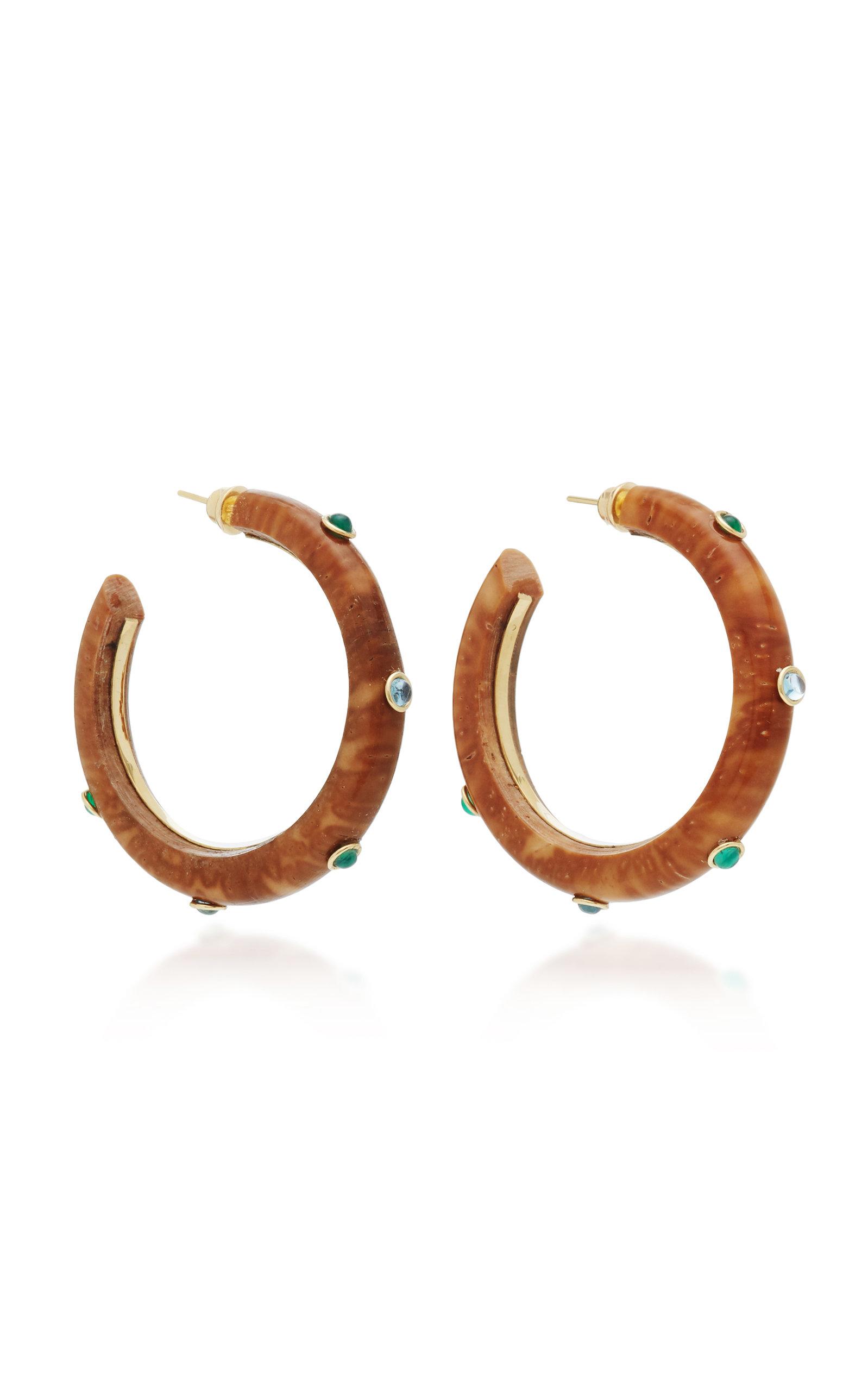 Eduarda Brunelli Accessories SAVANNAH 18K YELLOW GOLD SHELL TOPAZ AND CRISOPAZIO EARRINGS