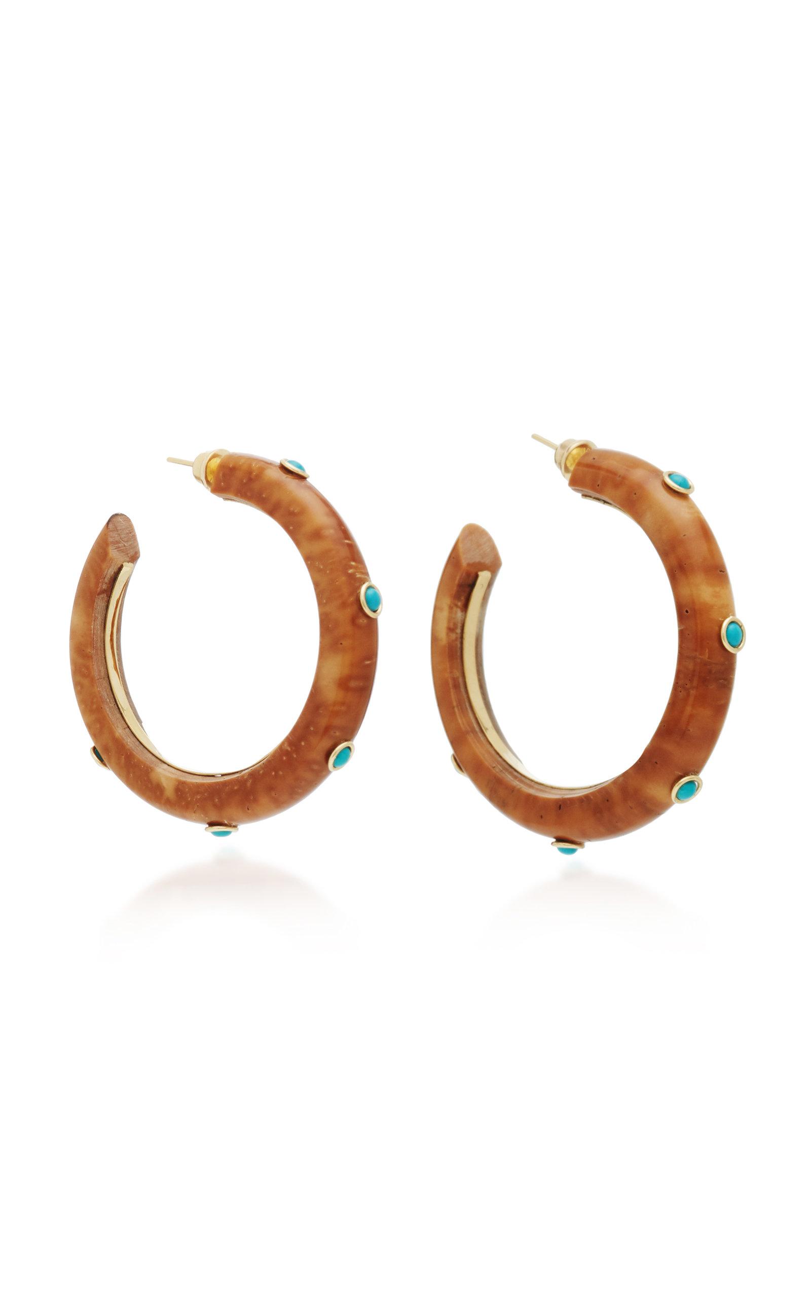 Eduarda Brunelli Accessories SAVANNAH 18K YELLOW GOLD SHELL TURQUOISE AND CRISOPAZIO EARRINGS