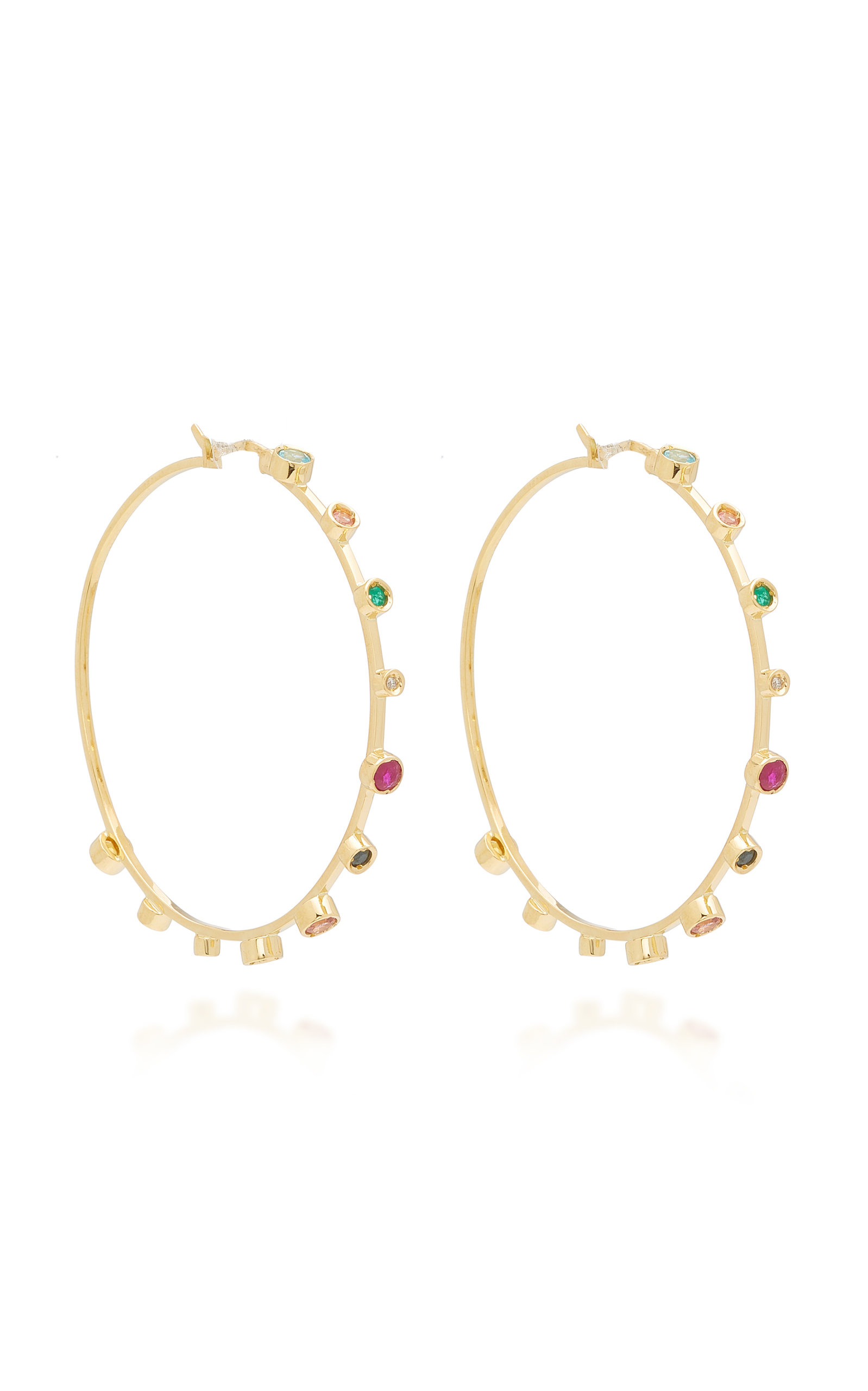 Women's 18K Yellow Gold Multi-Stone Hoop Earrings