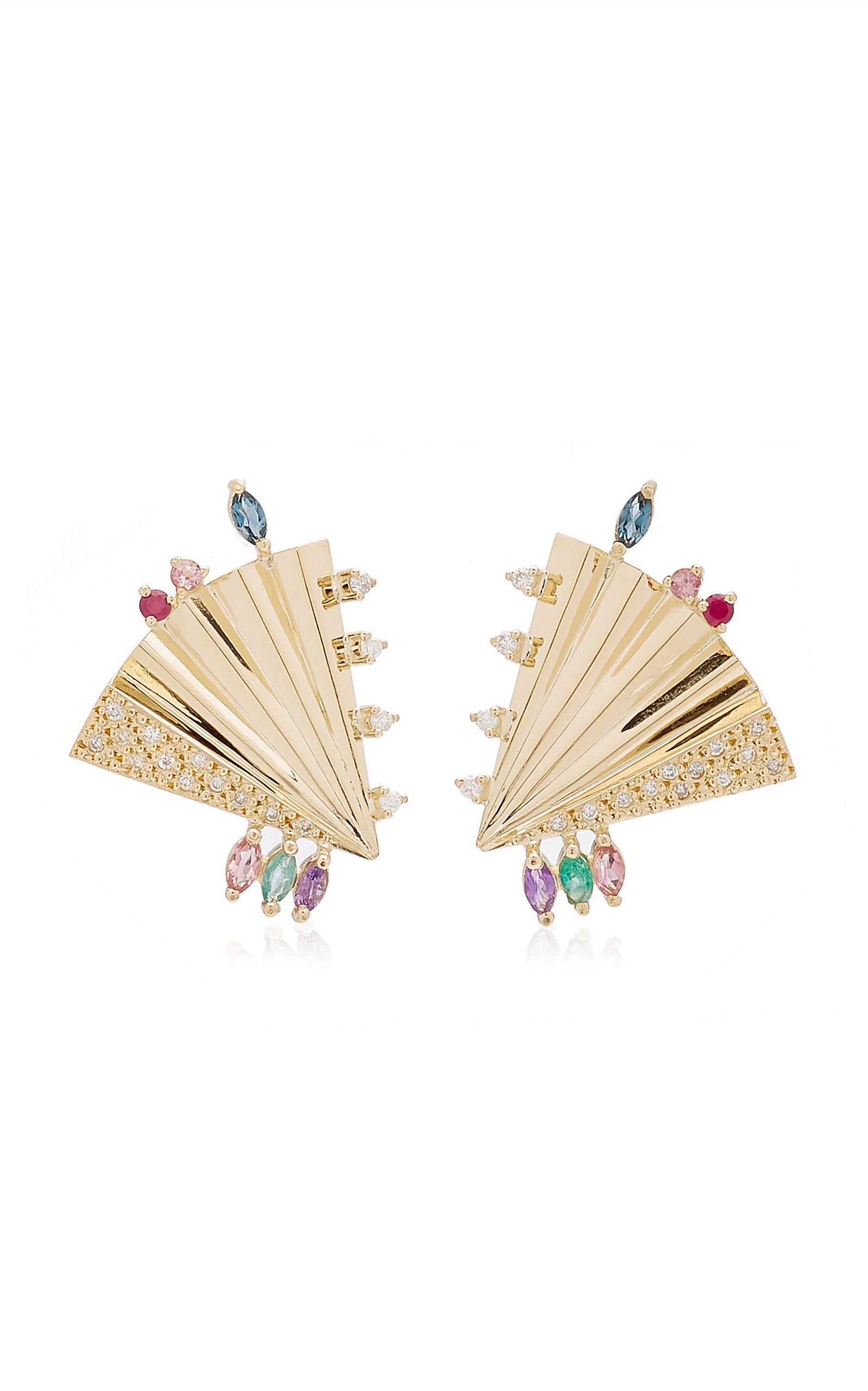 Women's Plissé 18K Yellow Gold Multi-Stone Earrings