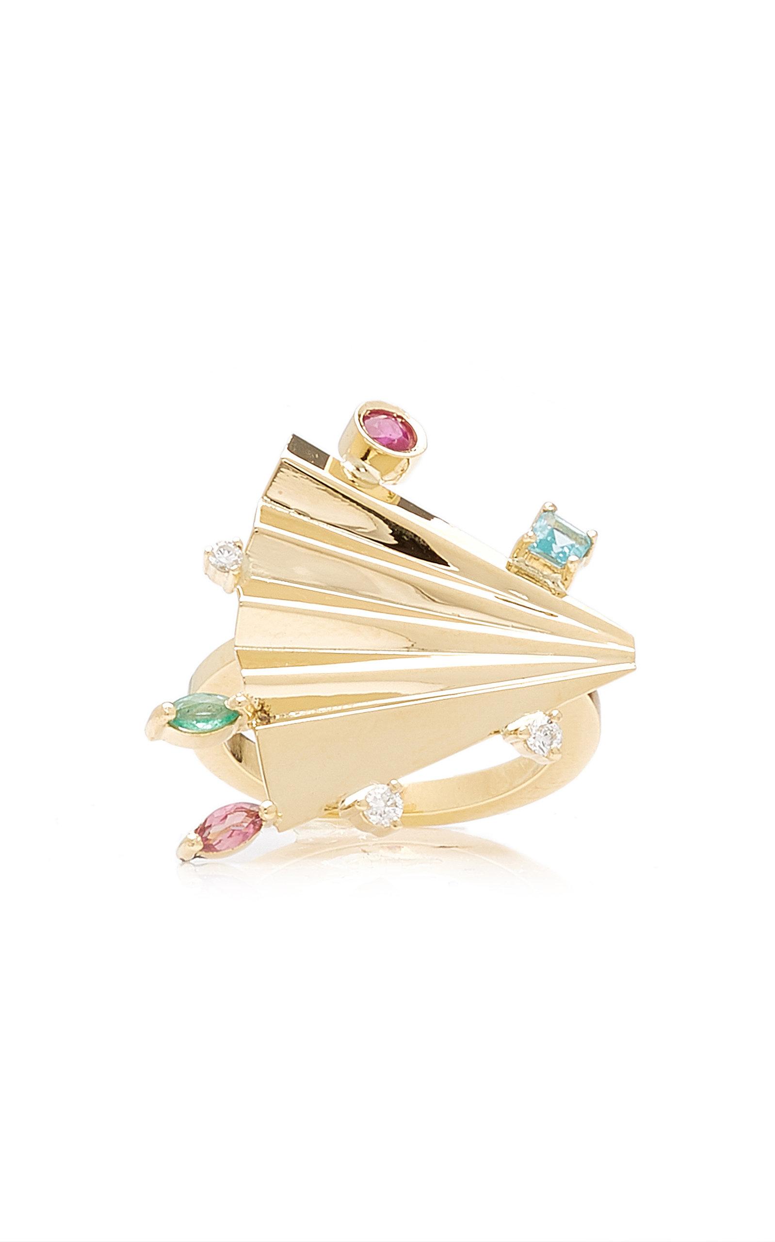 Women's Plissé 18K Yellow Gold Multi-Stone Ring