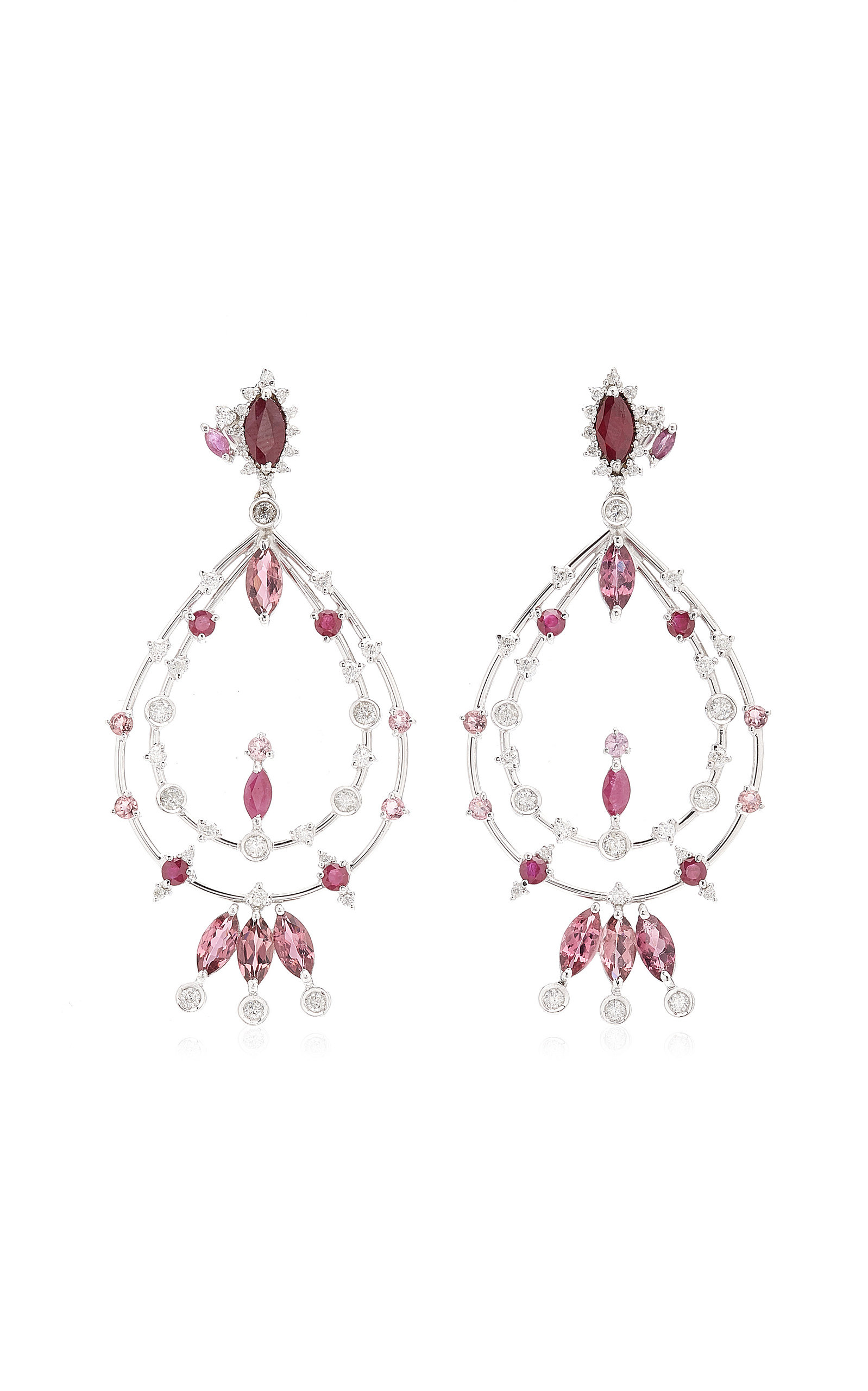 Women's Pink 18K Yellow Gold Multi-Stone Earrings