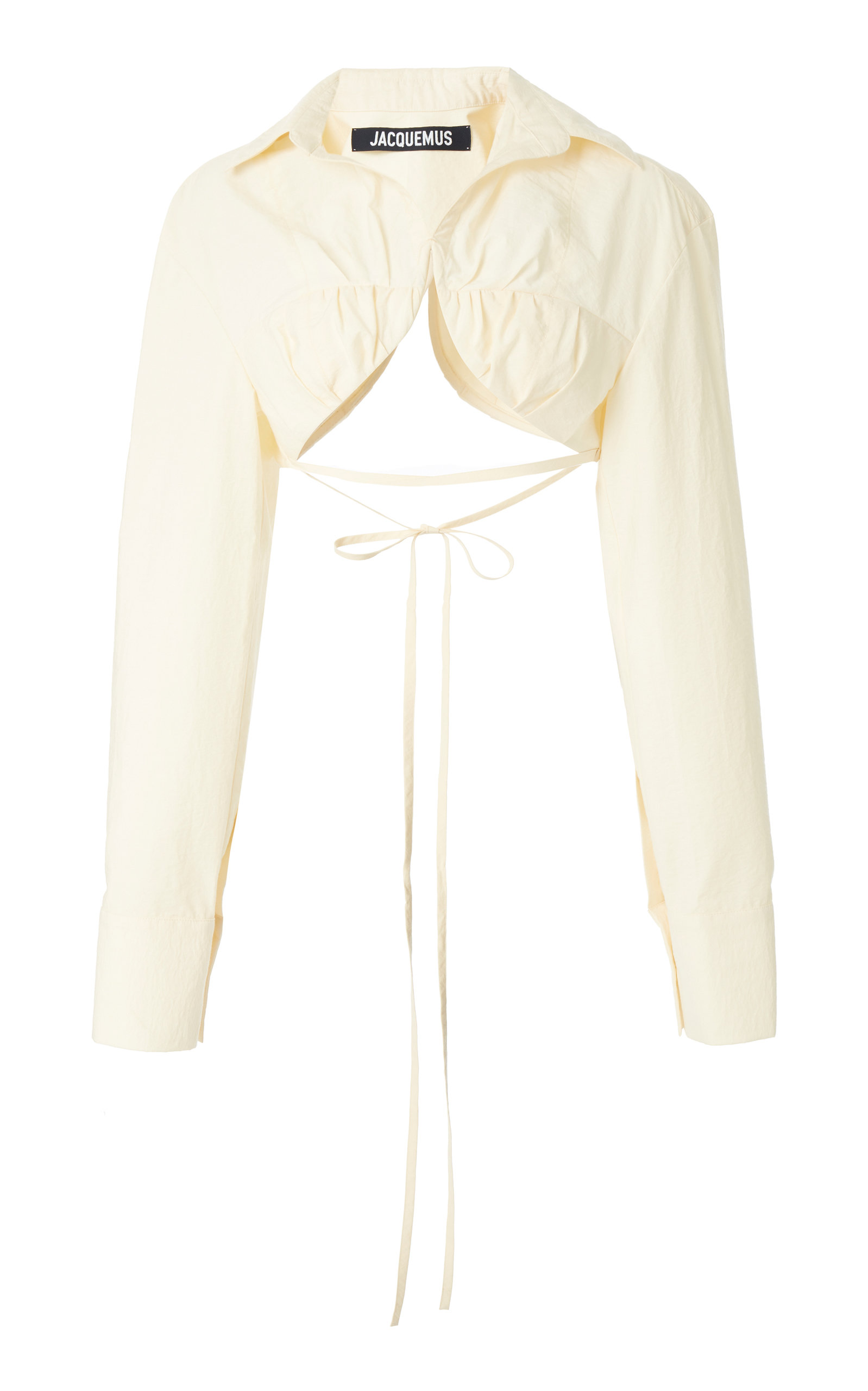 Jacquemus Baci Tie-detailed Cotton-blend Cropped Shirt In White