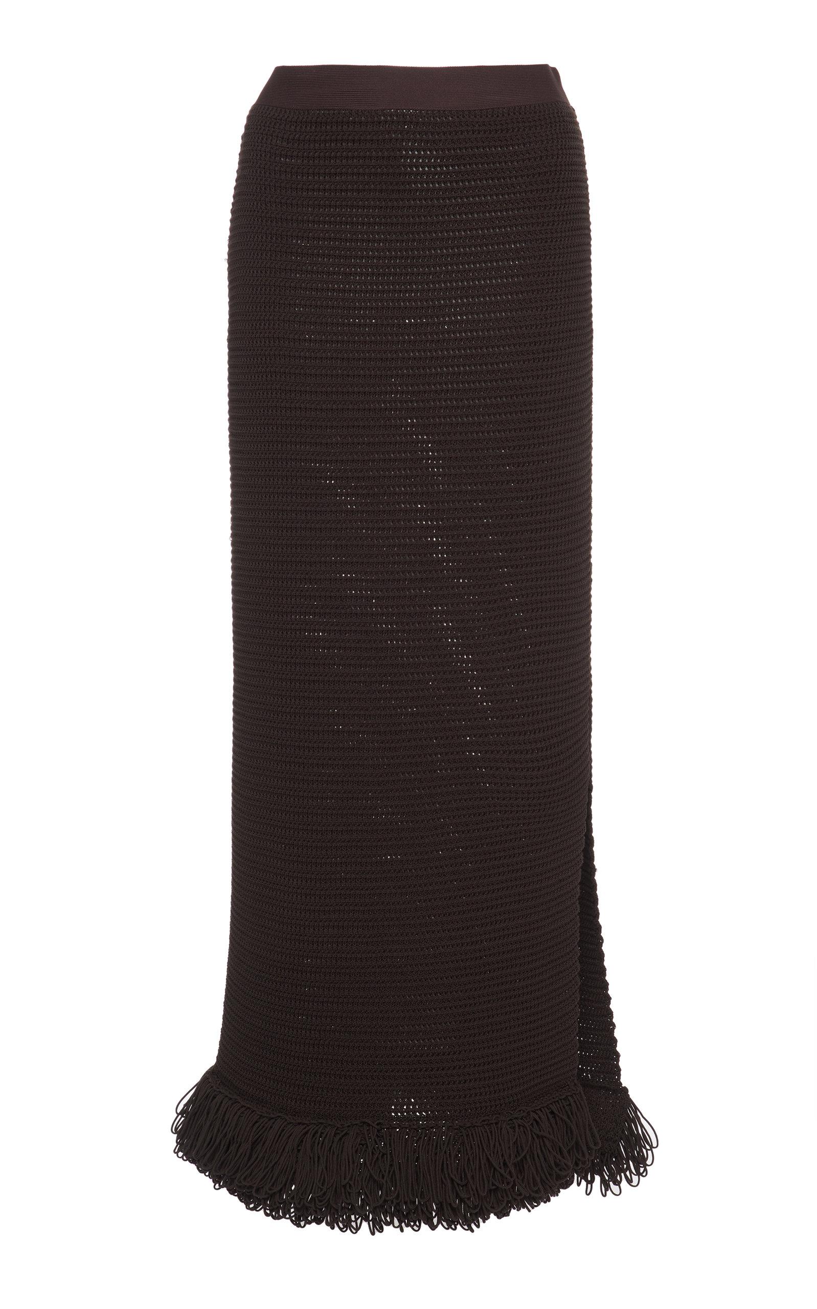 Bottega Veneta – Women's Fringed Cotton-Blend Knit Midi Skirt – Brown – Moda Operandi