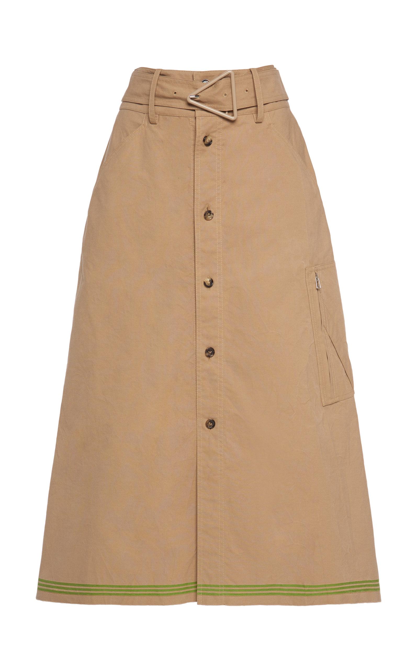 Bottega Veneta – Women's Belted Cotton Midi Skirt – Neutral – Moda Operandi