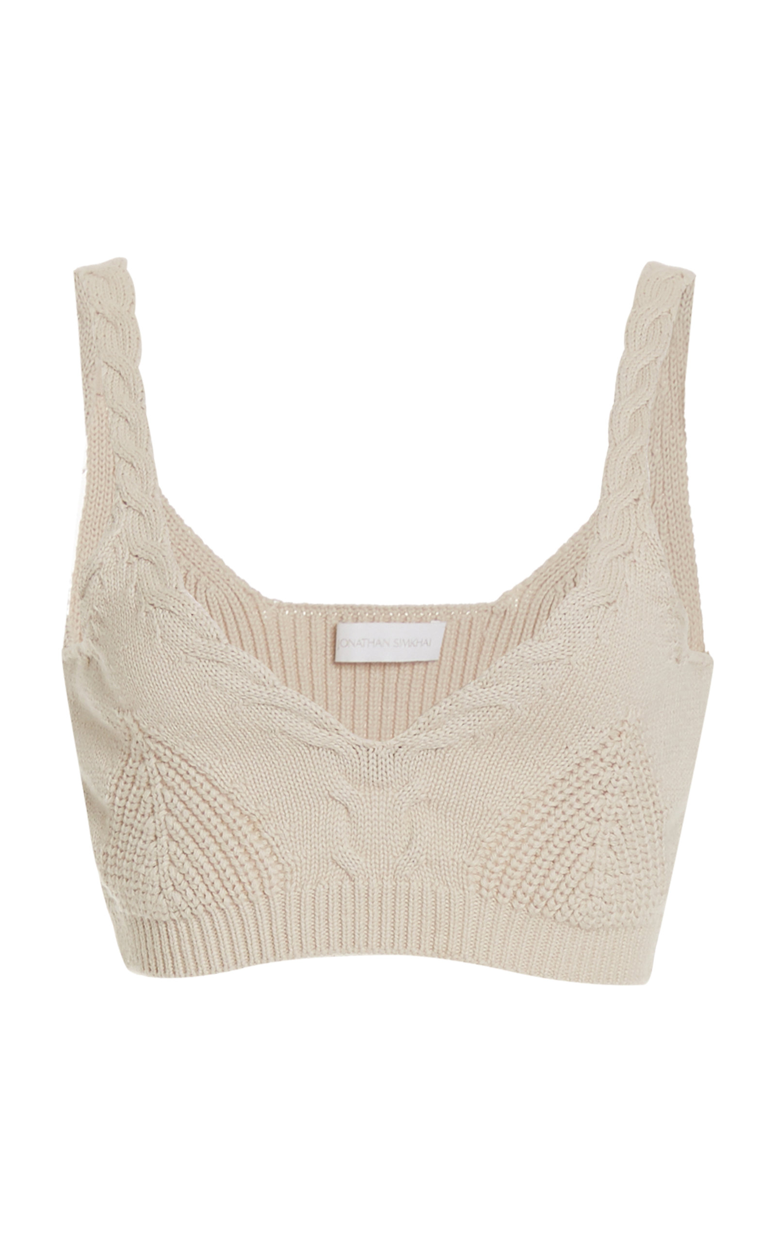 Jonathan Simkhai ELSA COTTON-BLEND CABLE-KNIT BRA TOP