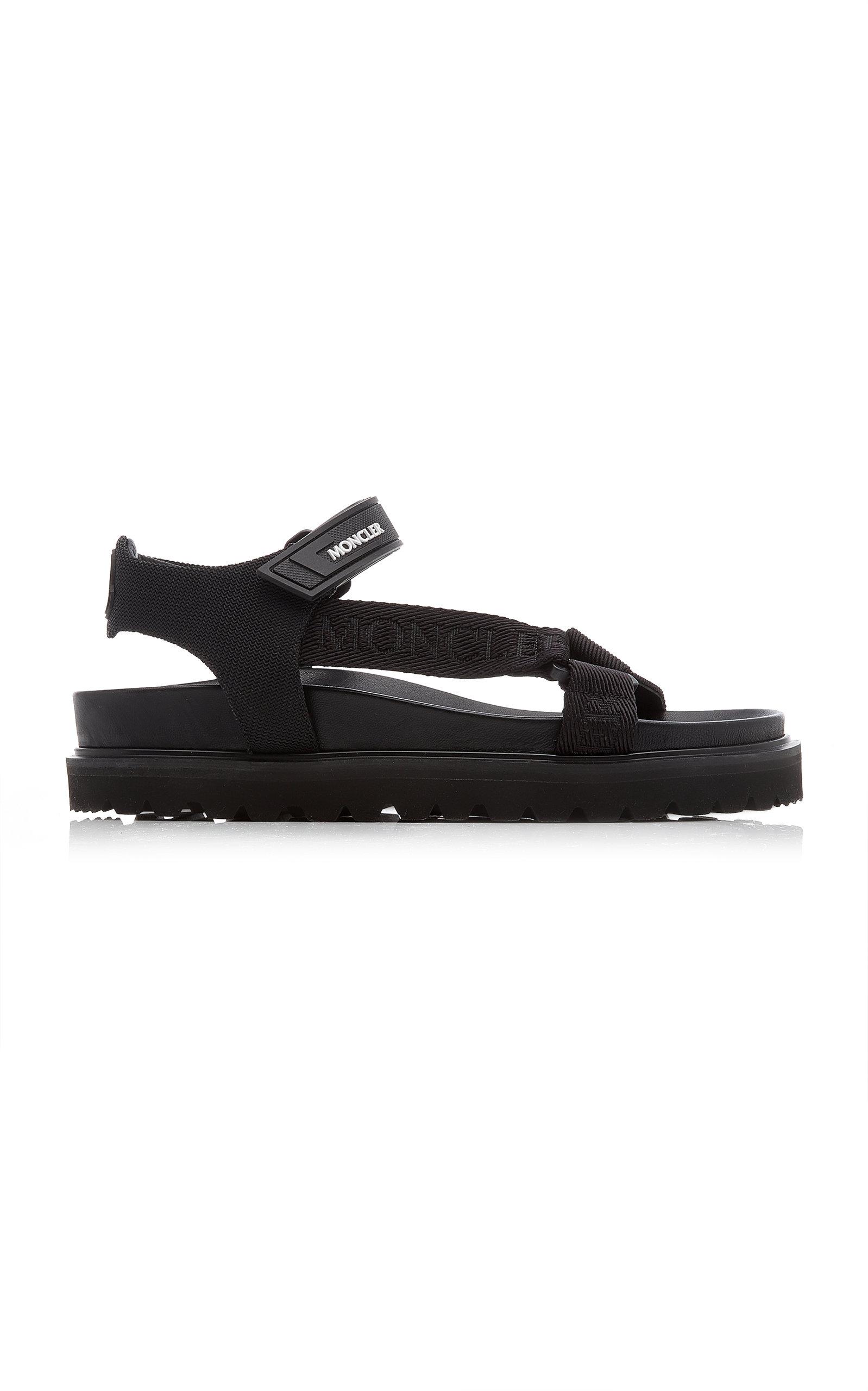 Moncler - Women's Flavia Webbed Hiking Sandals - Black/white - Moda Operandi