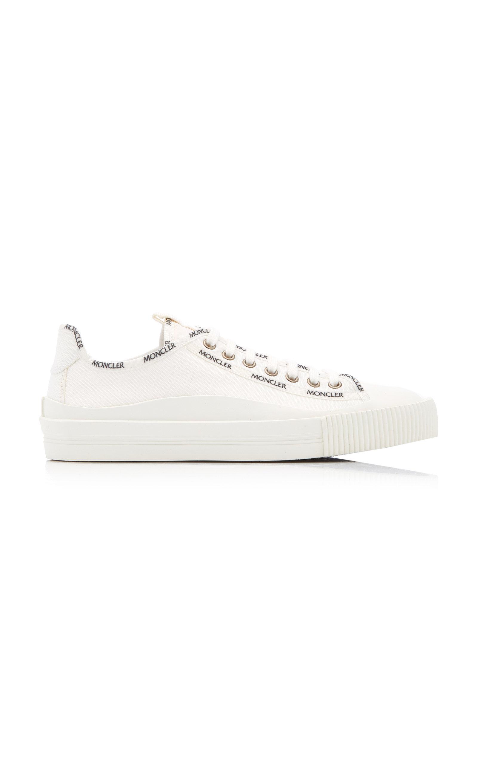 Moncler - Women's Logo-Print Cotton-Canvas Low-Top Sneakers - White - Moda Operandi