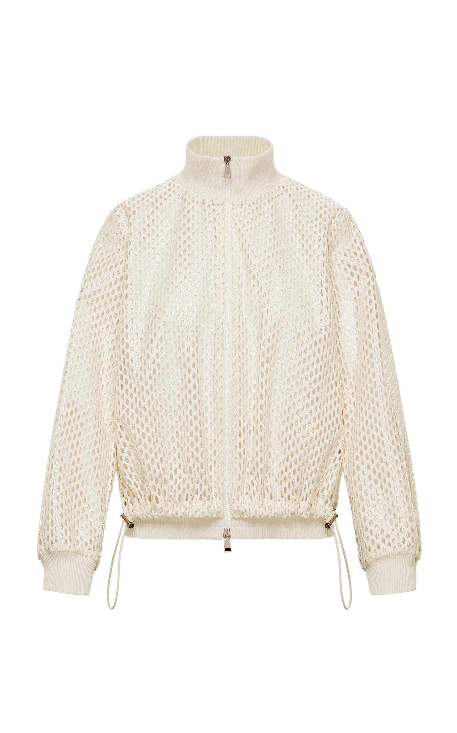 Moncler - Women's Pulcherrima Cotton-Blend Mesh Jacket - White - Moda Operandi