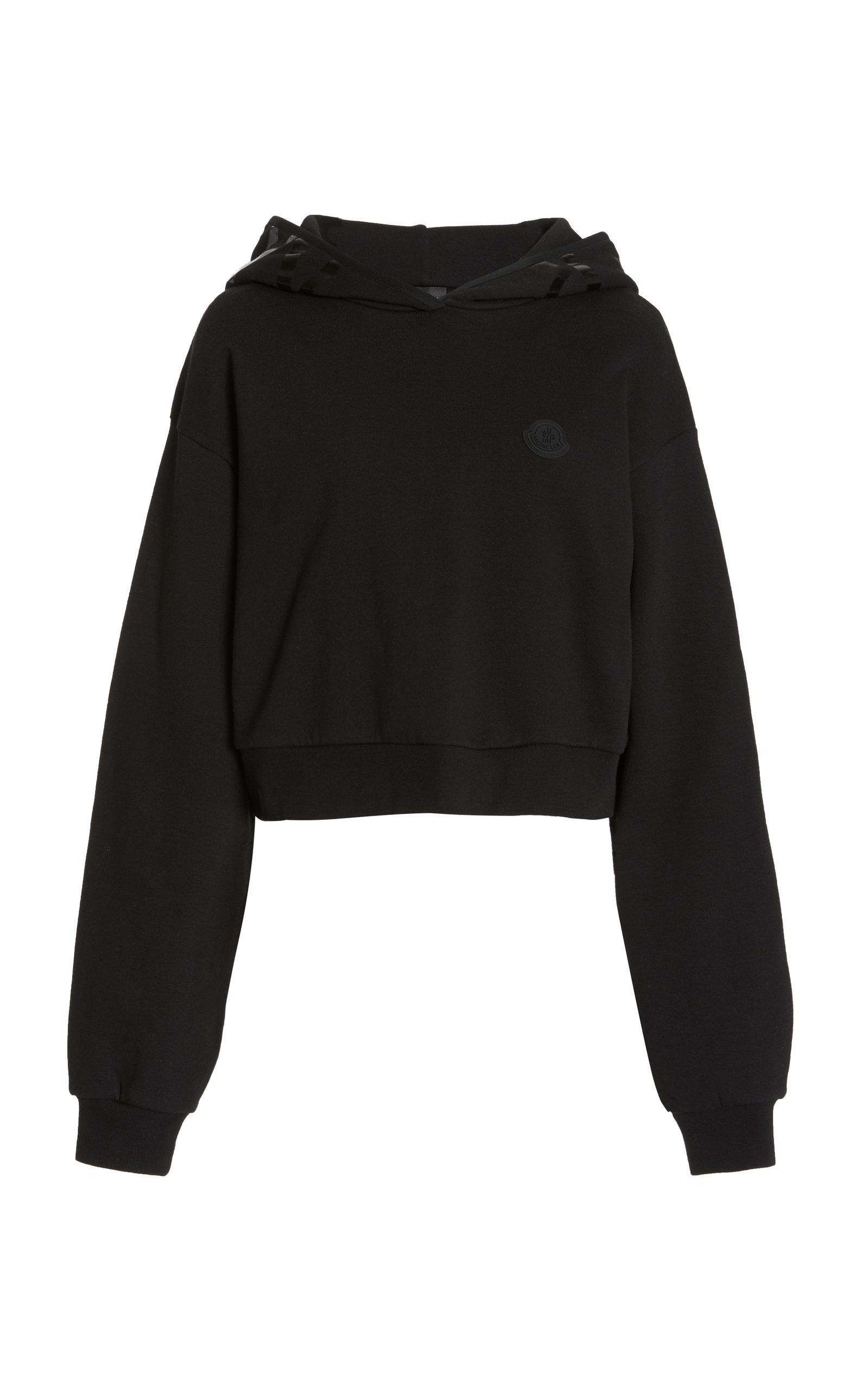 Moncler - Women's Oversized Logo-Detailed Cotton-Blend Hoodie - Black - Moda Operandi