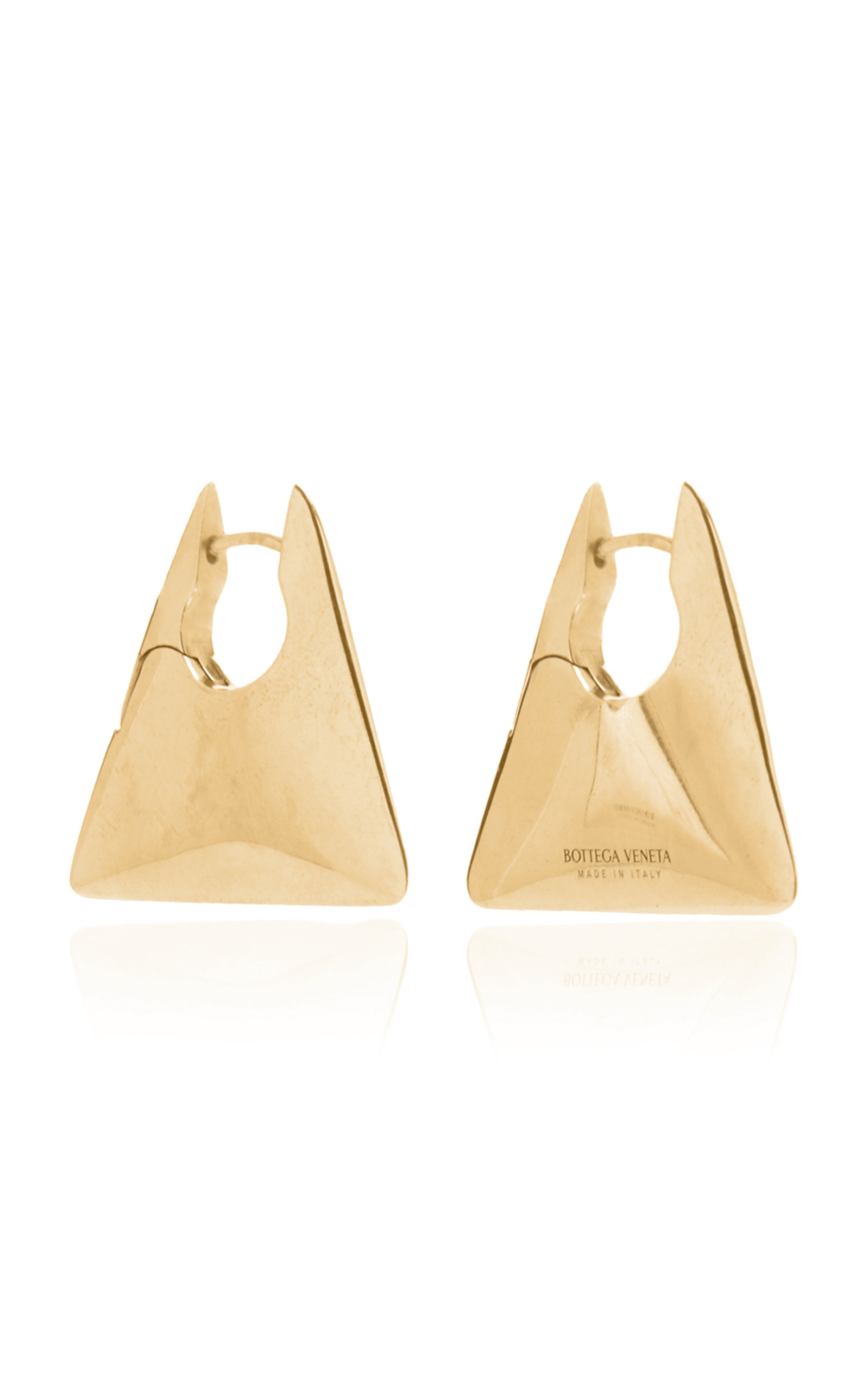 Bottega Veneta – Women's Gold-Plated Triangle Hoop Earrings  – Gold – Moda Operandi