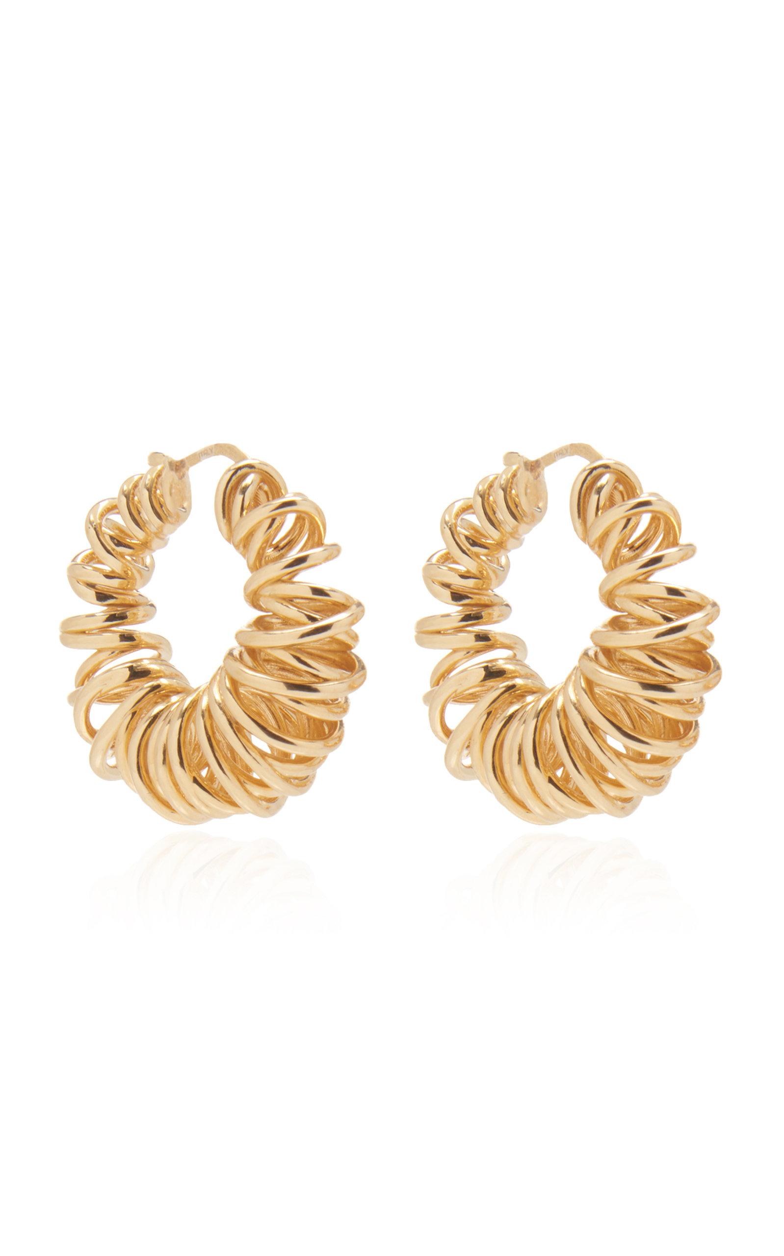 Bottega Veneta – Women's Gold-Plated Spiral Hoop Earrings  – Gold – Moda Operandi