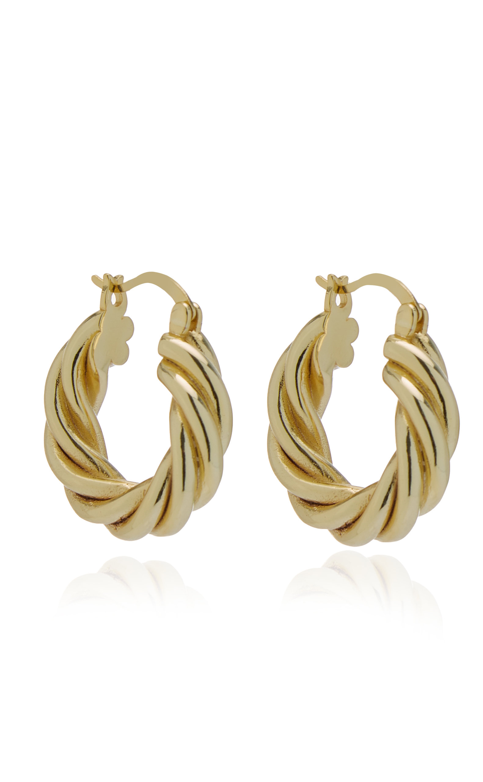 Emili - Women's Diane 14k Gold-Plated Hoop Earrings - Gold - Moda Operandi
