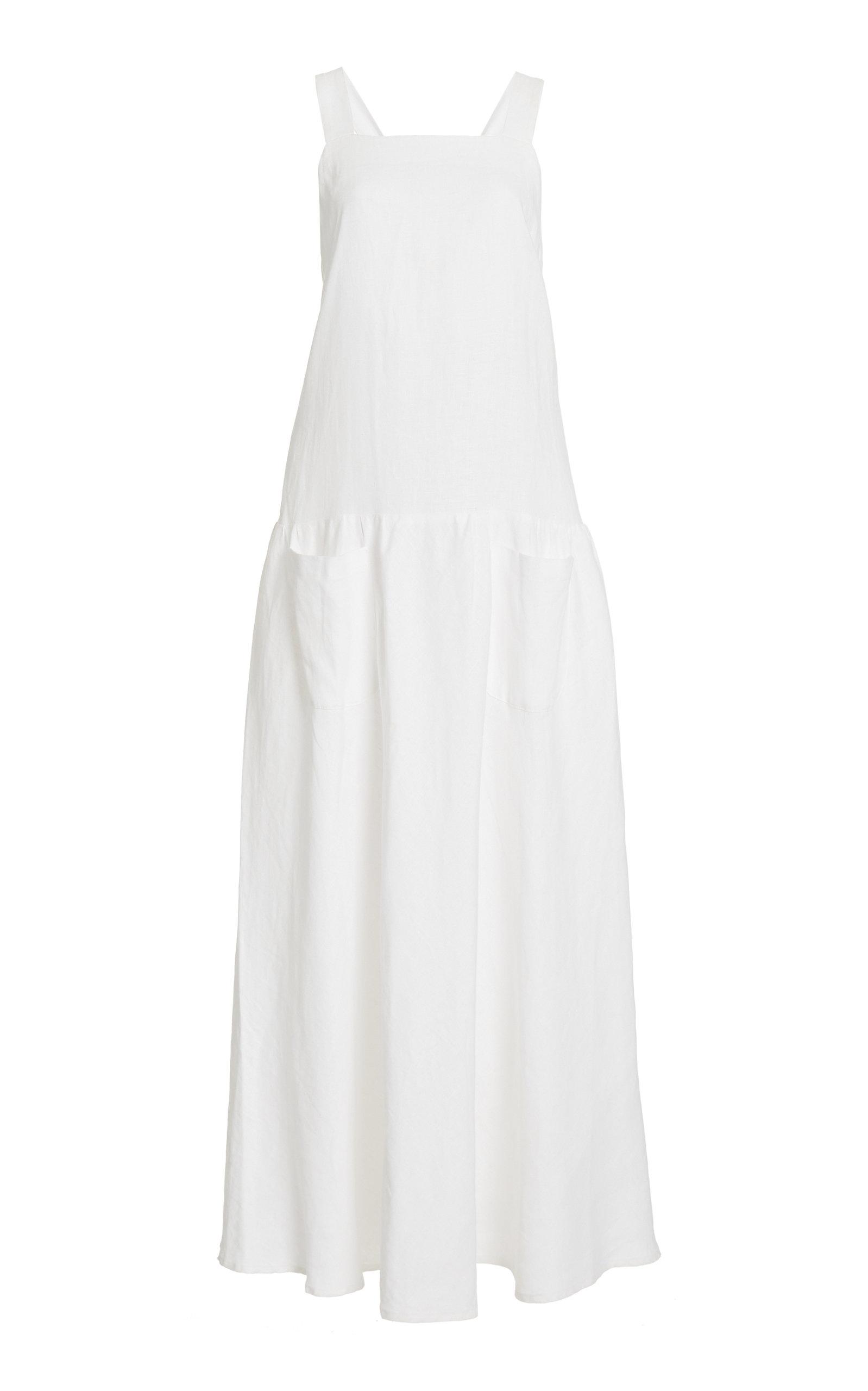 Women's Linen Apron Maxi Dress