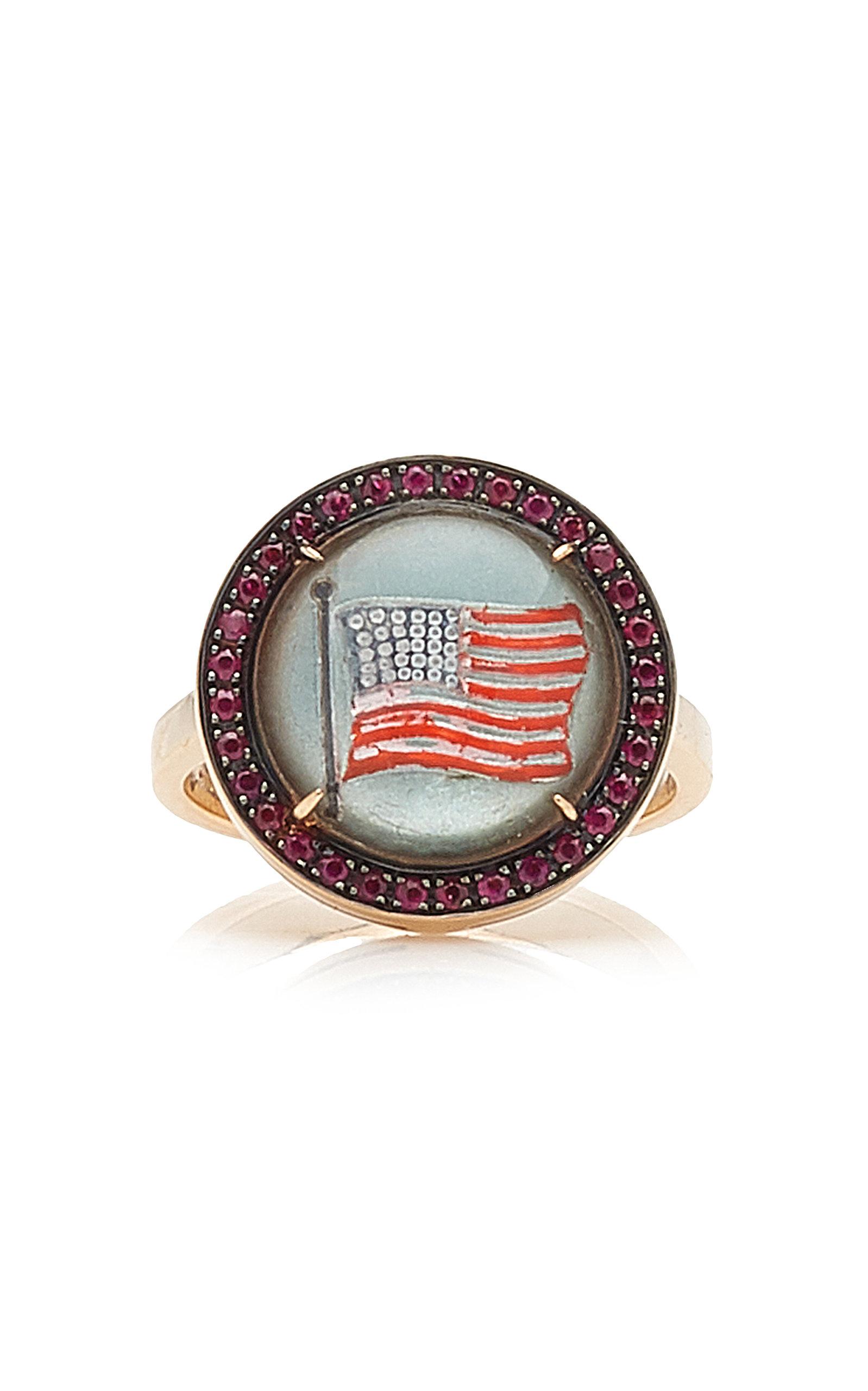 Women's Being 18K Rose Gold Ruby; Crystal Ring