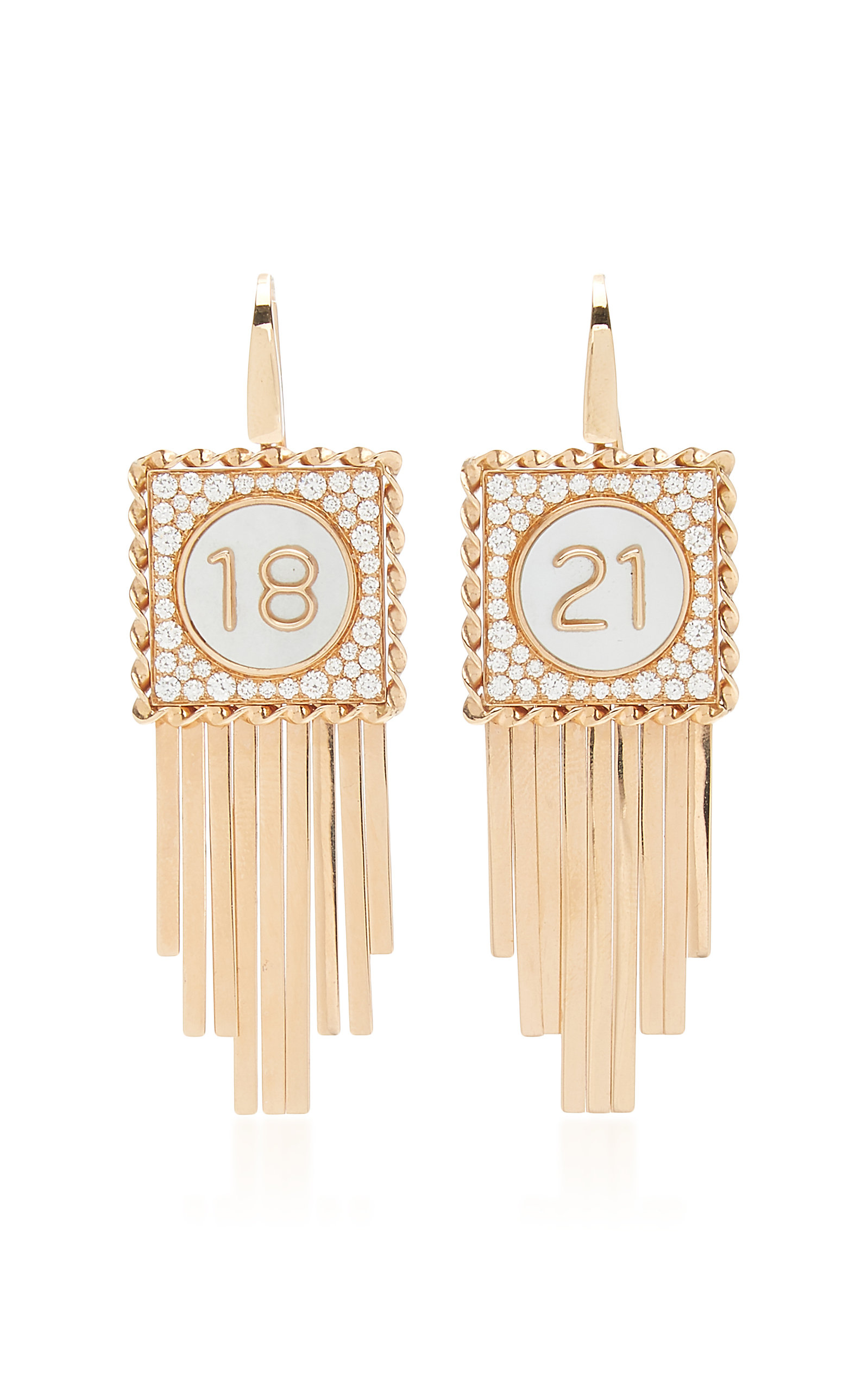 Women's Pure Numbers 18K Rose Gold Mother-Of-Pearl; Diamond Earrings