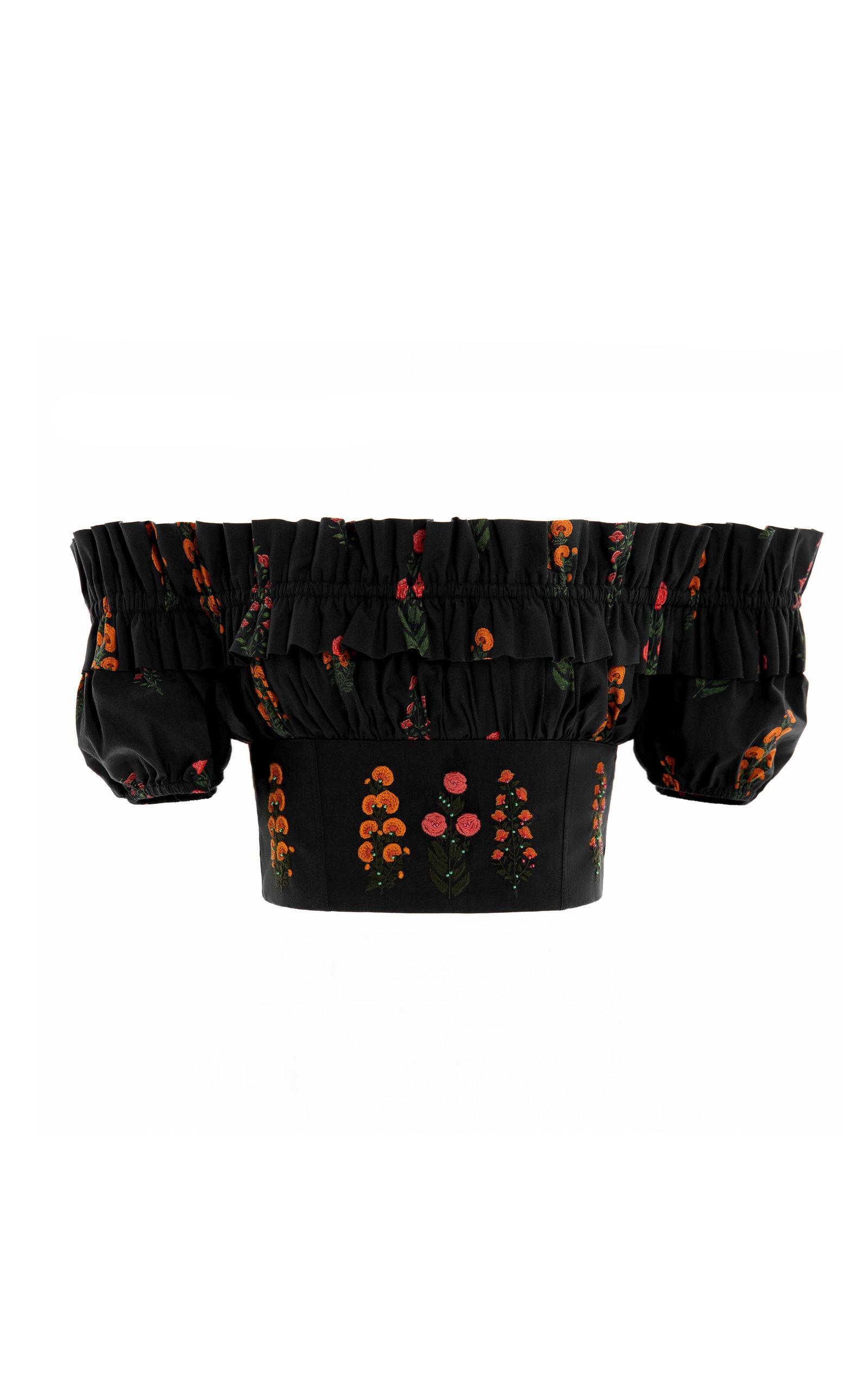 Women's Pimienta Dahlia Cotton-Poplin Cropped Top