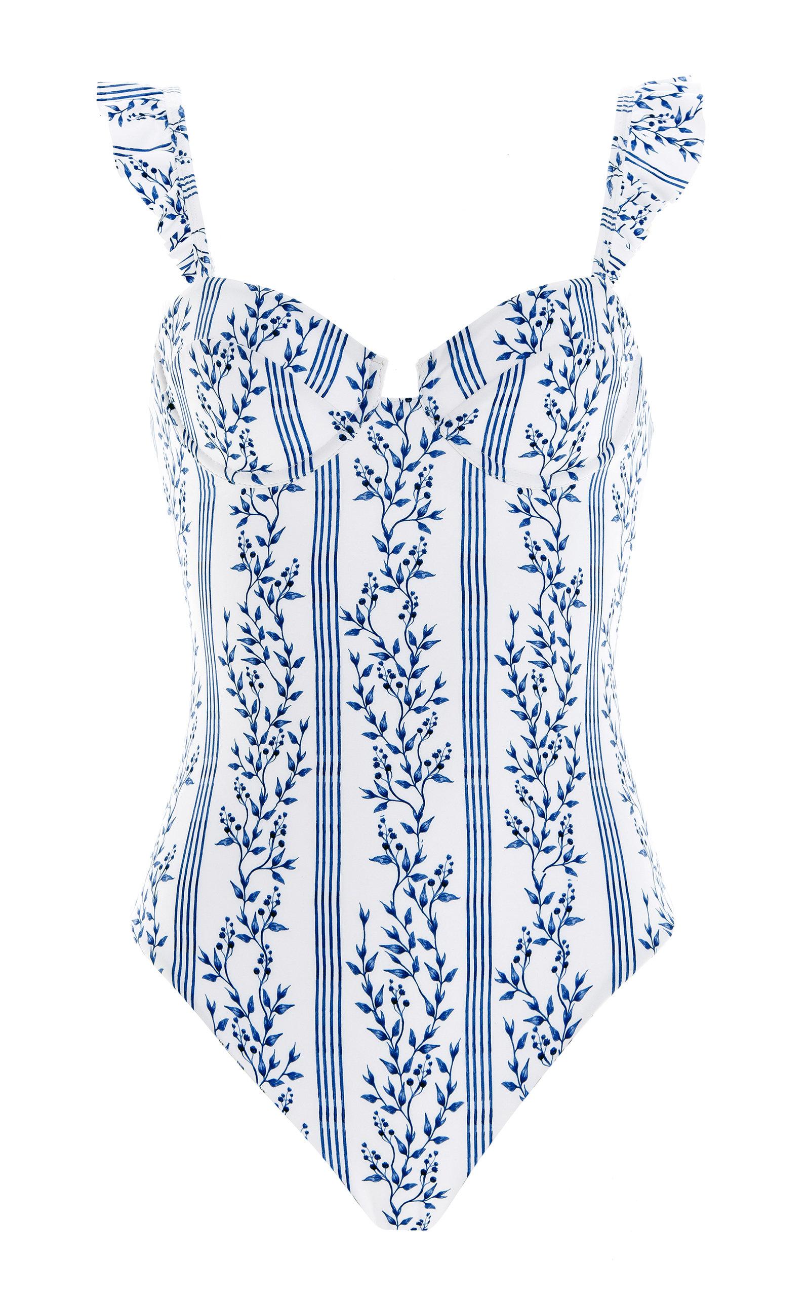 Women's Ajonjoli Ruffled Grosellas-Print One-Piece Swimsuit