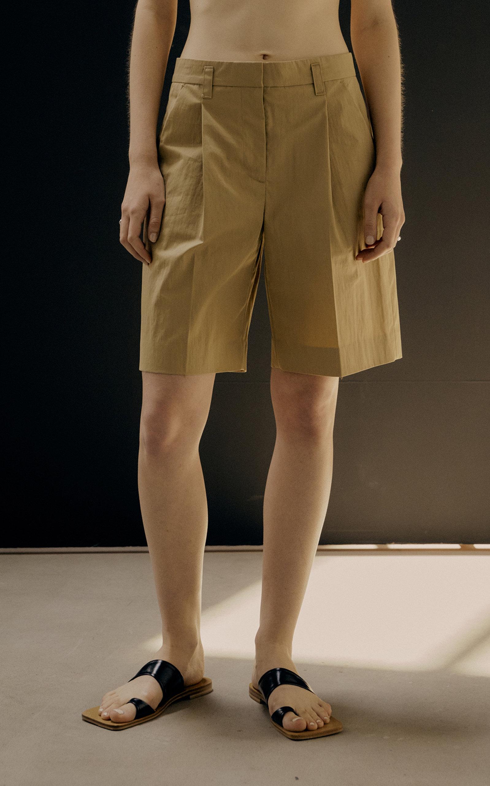 Low Classic WOMEN'S PLEATED COTTON-BLEND POPLIN SHORTS