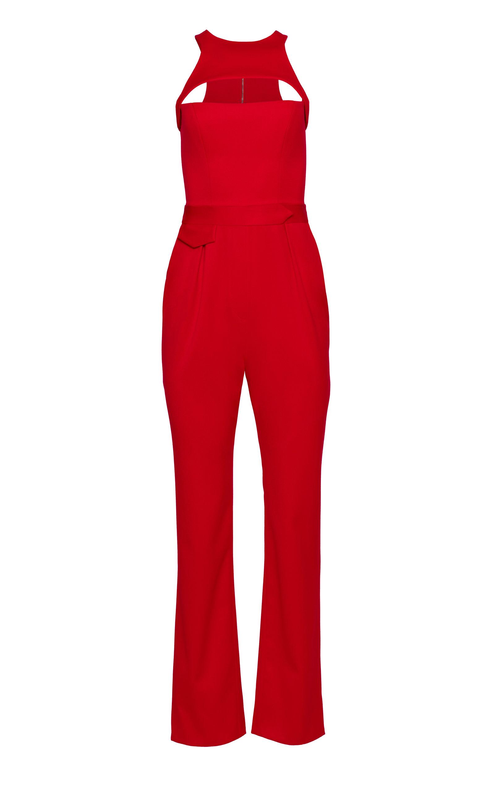 Women's Racerback Straight-Leg Wool Cutout Jumpsuit