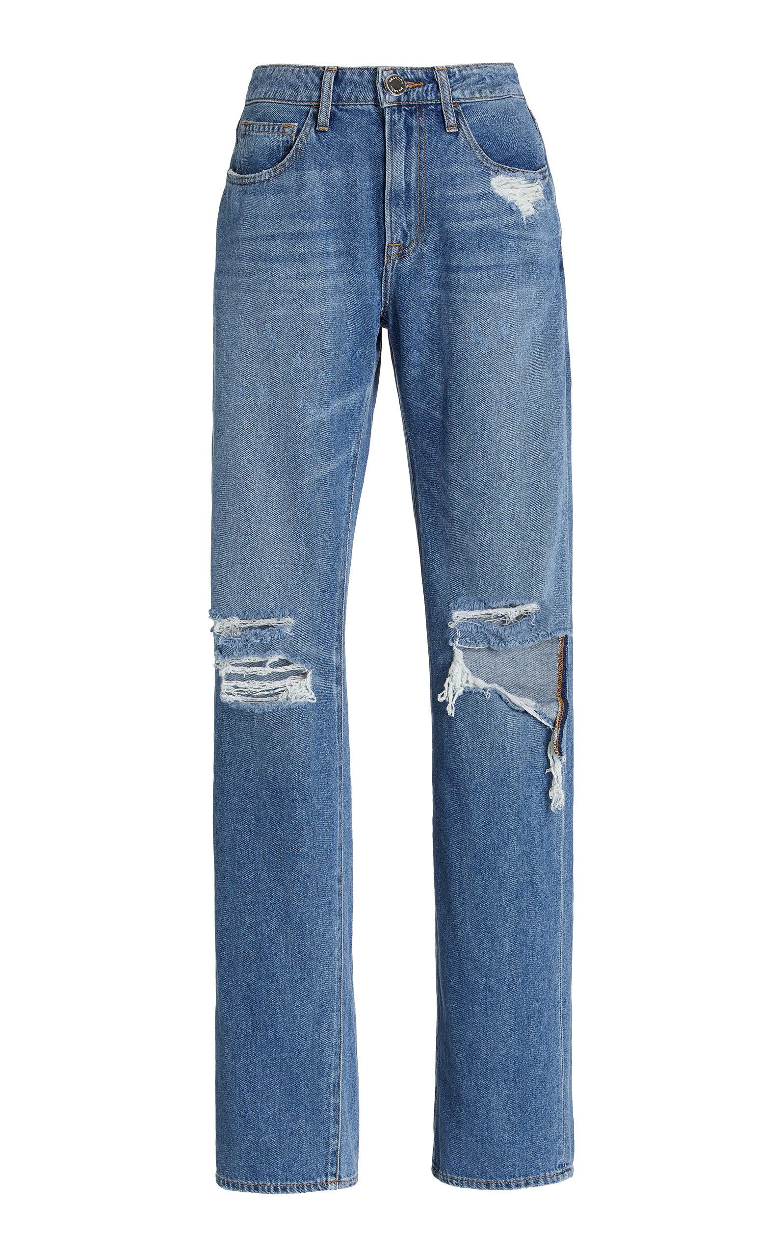 Women's Distressed Rigid High-Rise Boyfriend Jeans