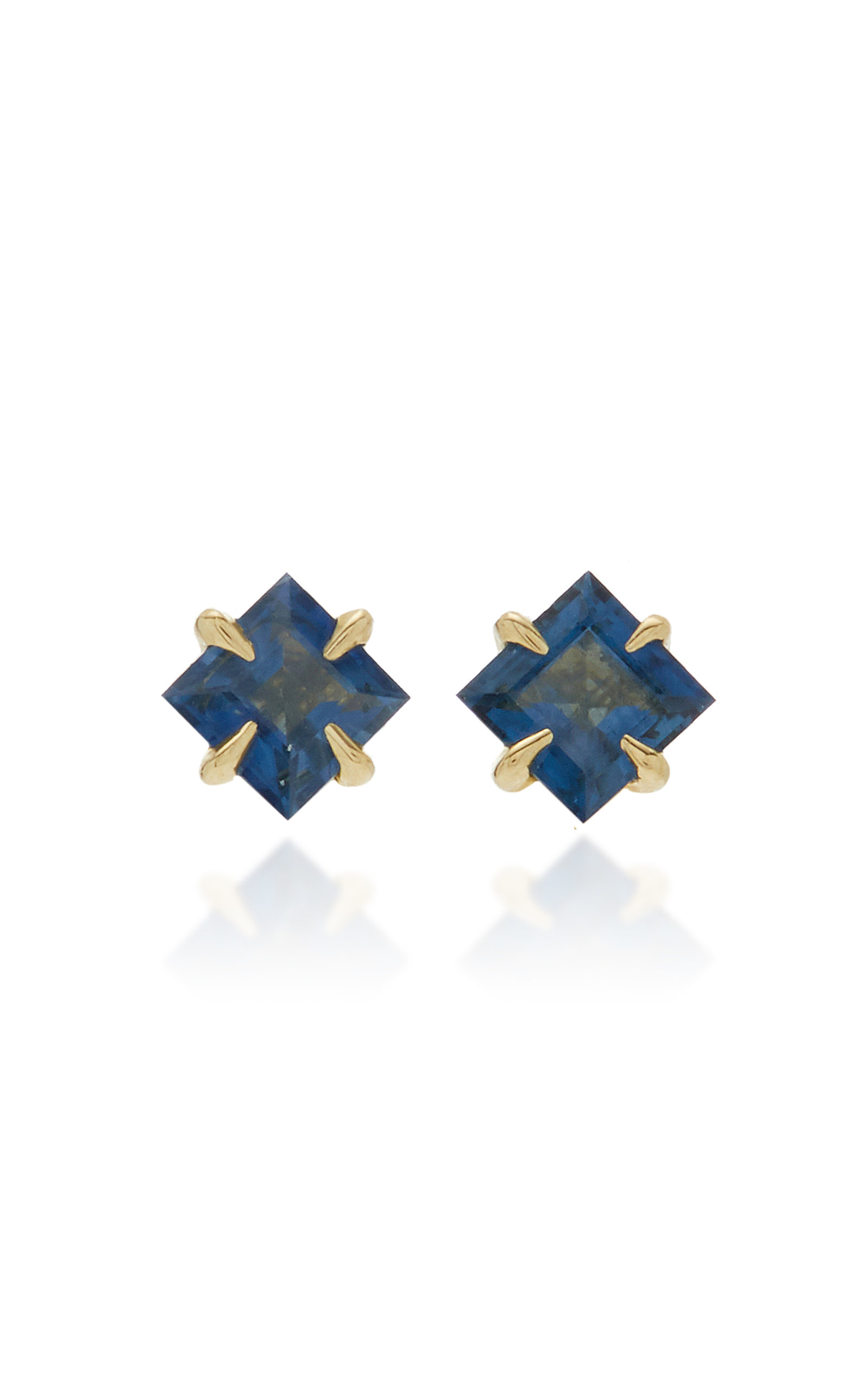 Women's Primary Princess 14K Gold Blue Sapphire Earrings