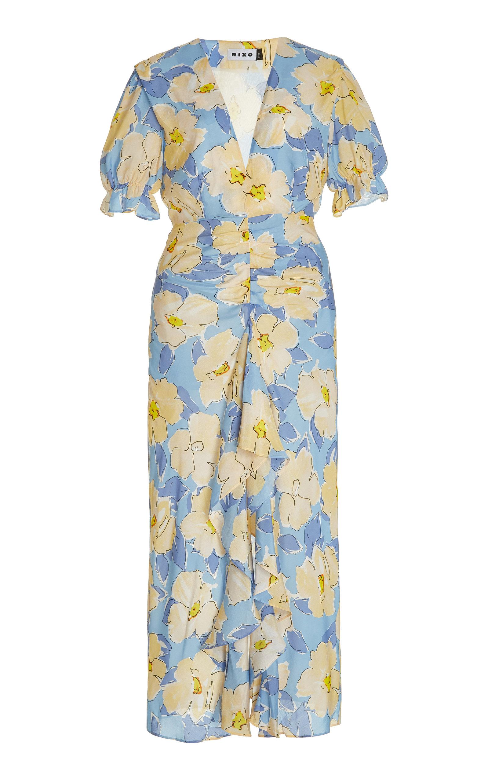Rixo London ARIEL RUCHED FLORAL COTTON-SILK MAXI DRESS