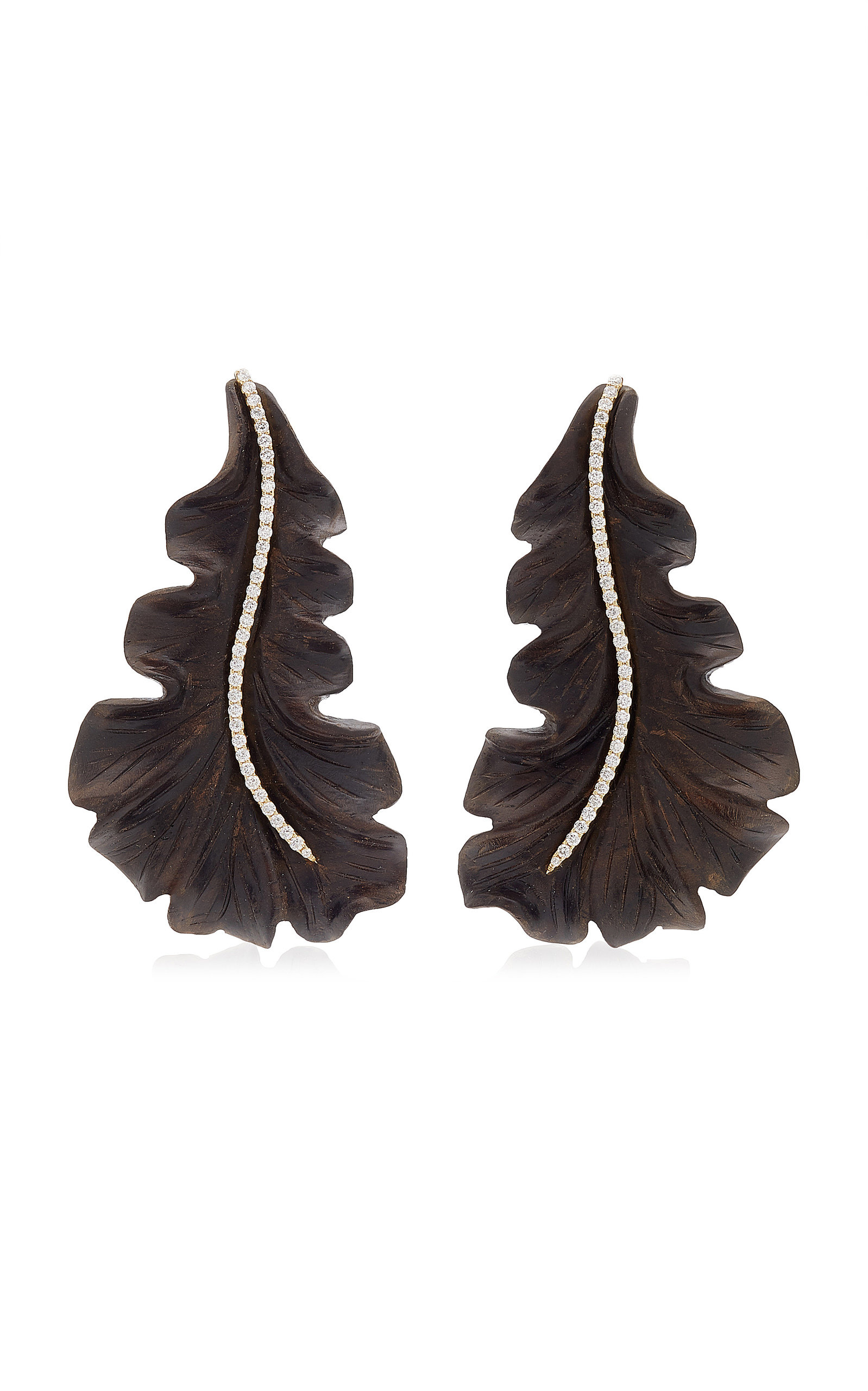 Casa Castro - Women's Leaf 18K Yellow Gold Ebony; Diamond Earrings - Brown - Moda Operandi