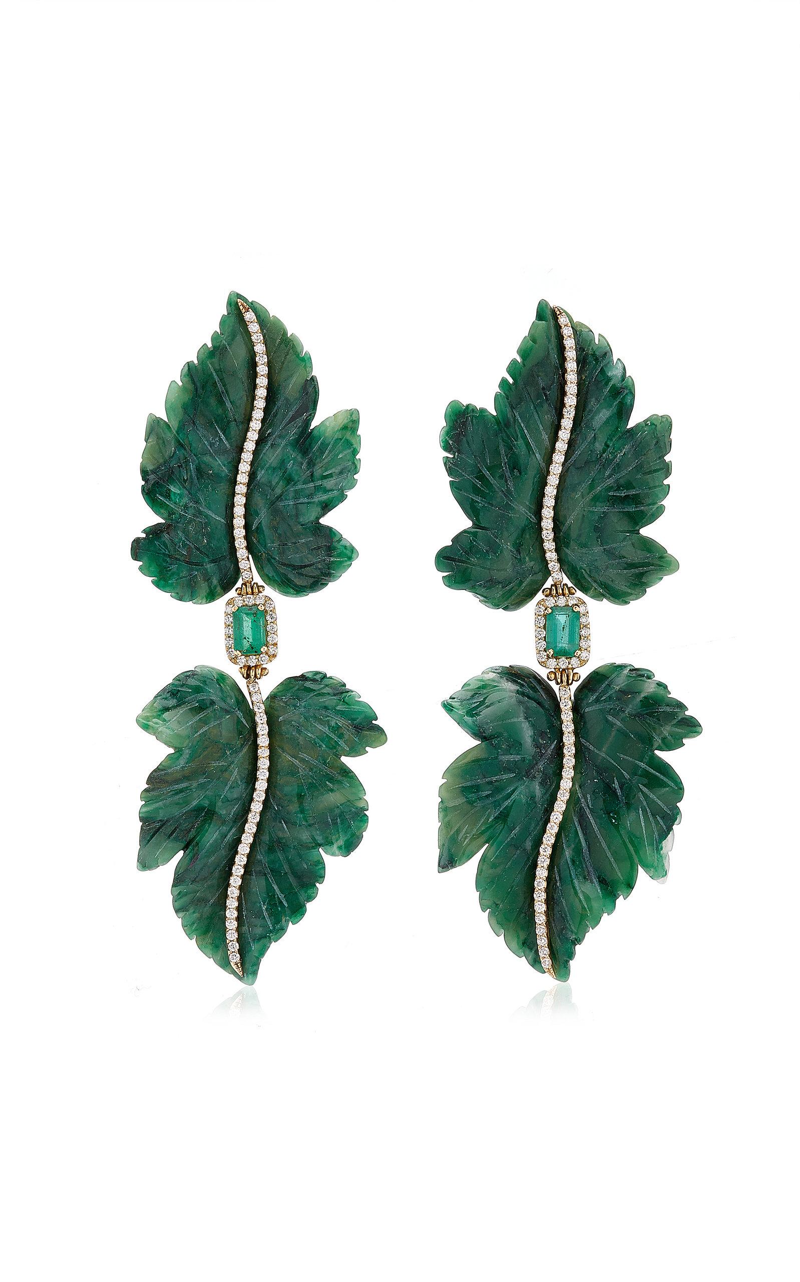 Women's Double Leaf 18K Yellow Gold Jade; Emerald; Diamond Earrings