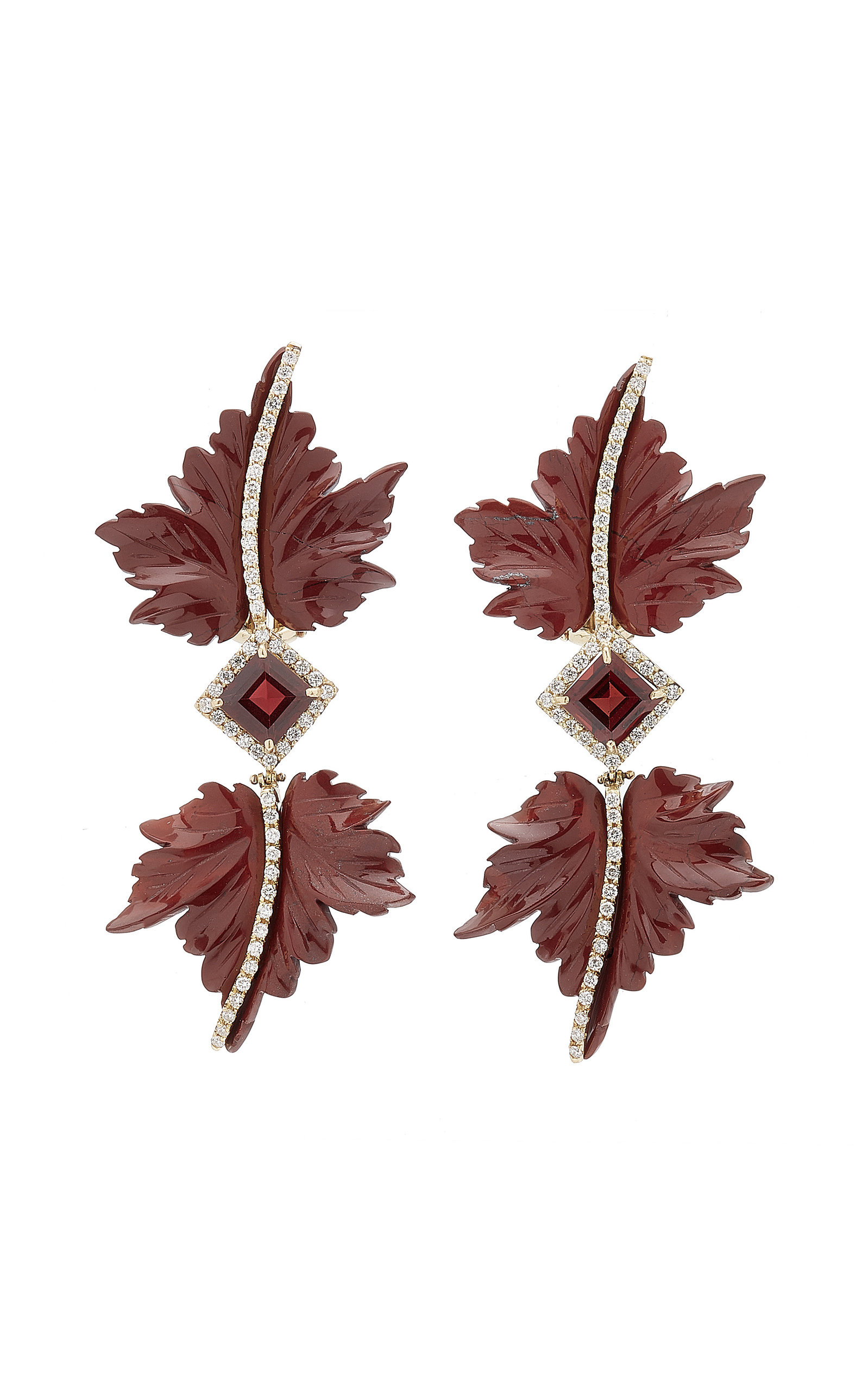 Casa Castro - Women's Double Leaf 18K Yellow Gold Jasper; Garnet; Diamond Earrings - Red - Moda Operandi
