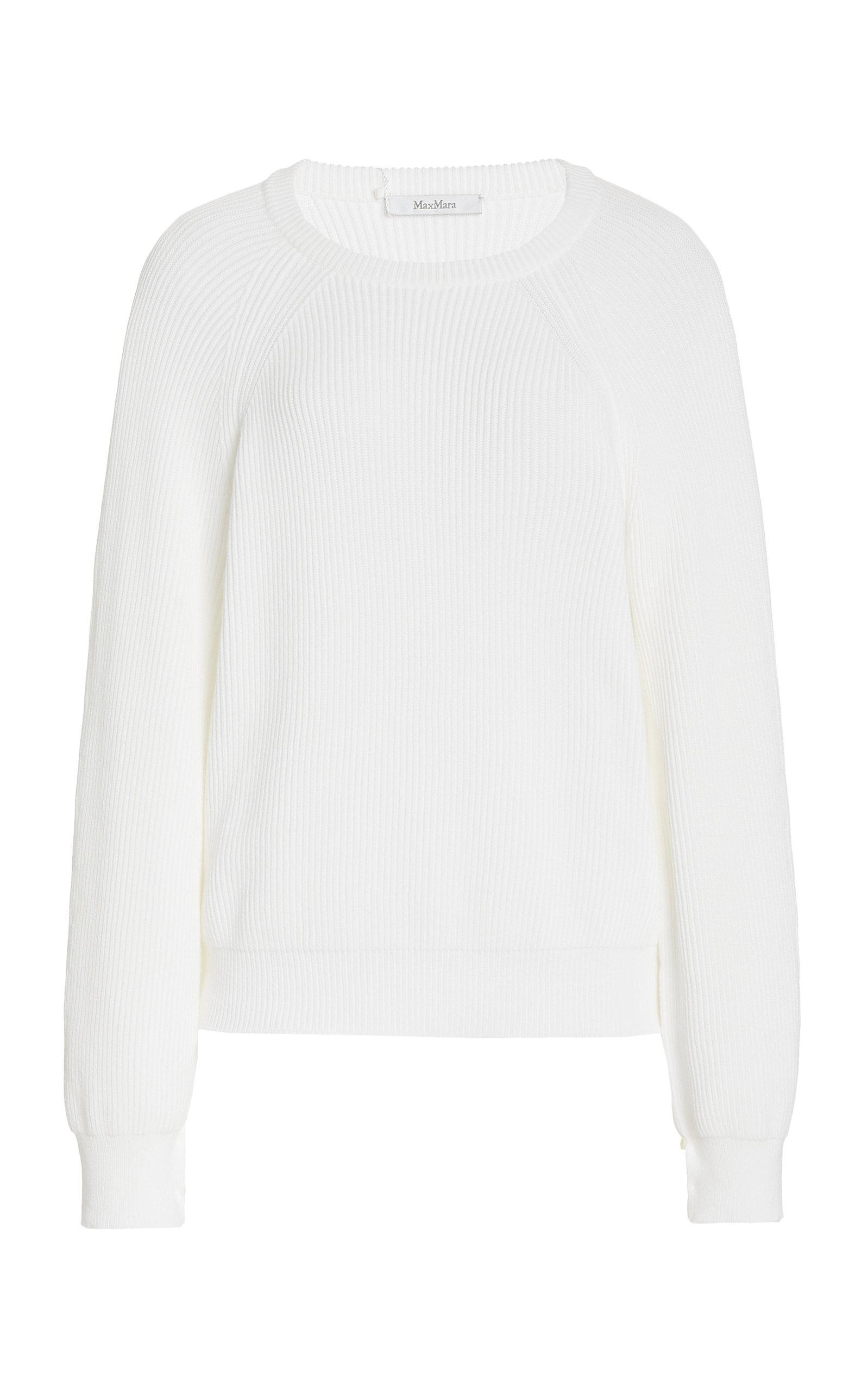 Max Mara Mattia Open Sleeve Jersey Blouse In White
