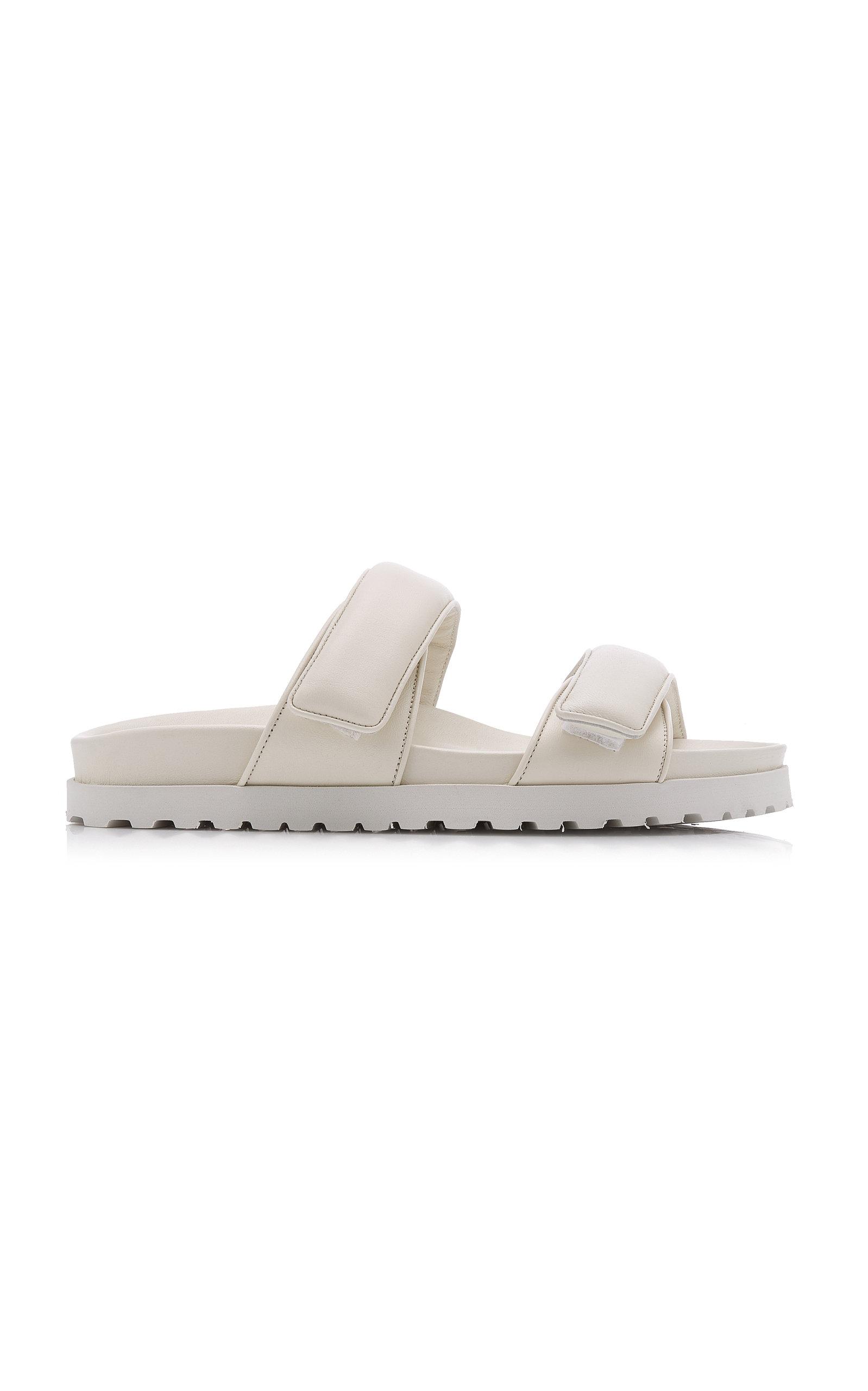 Women's Padded Leather Platform Slide Sandals