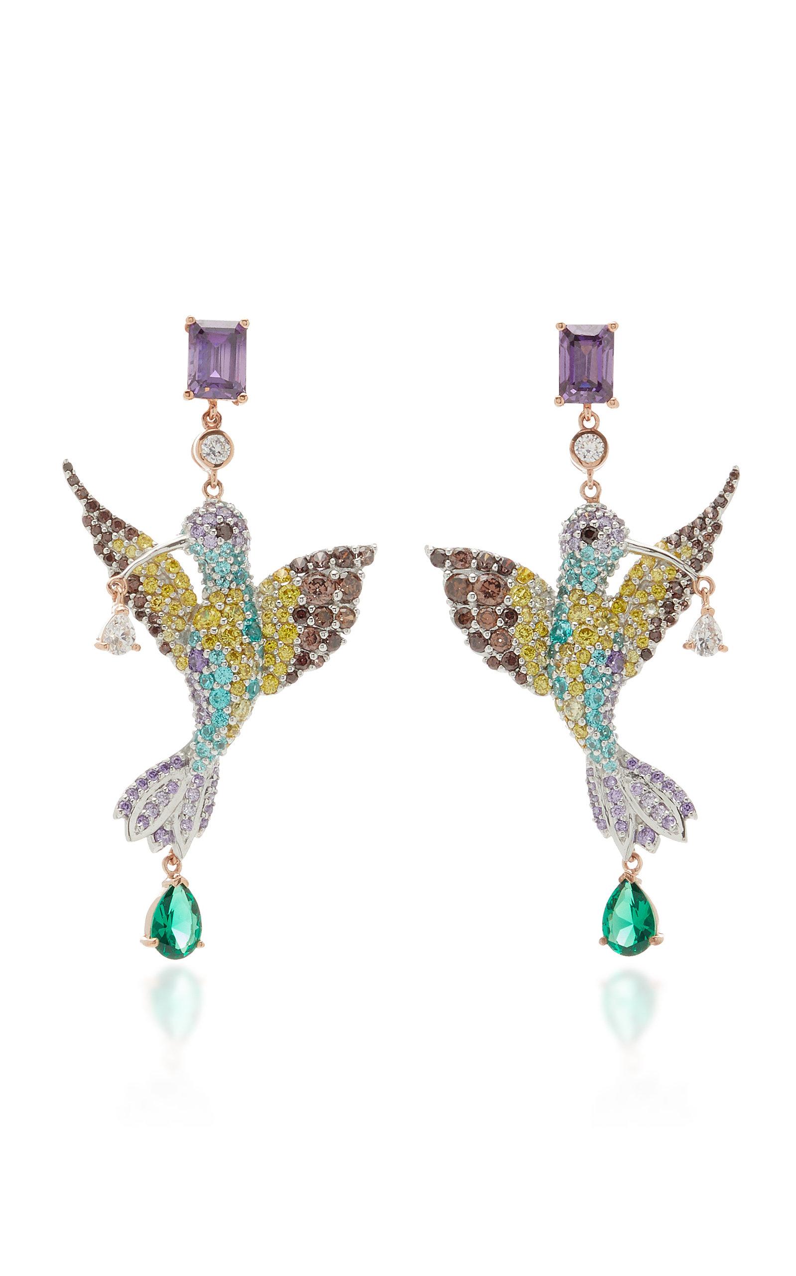 Women's Hummingbird 18K Gold Vermeil Multi-Stone Earrings