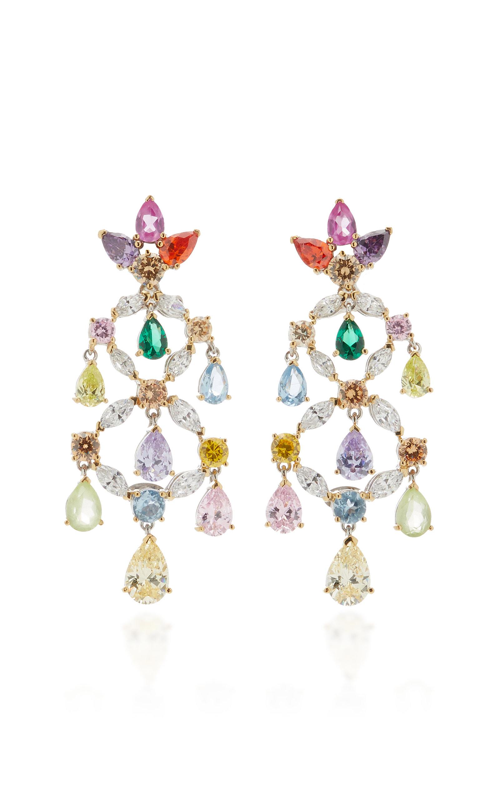 Women's Rainbow 18K Gold Multi-Stone Earrings