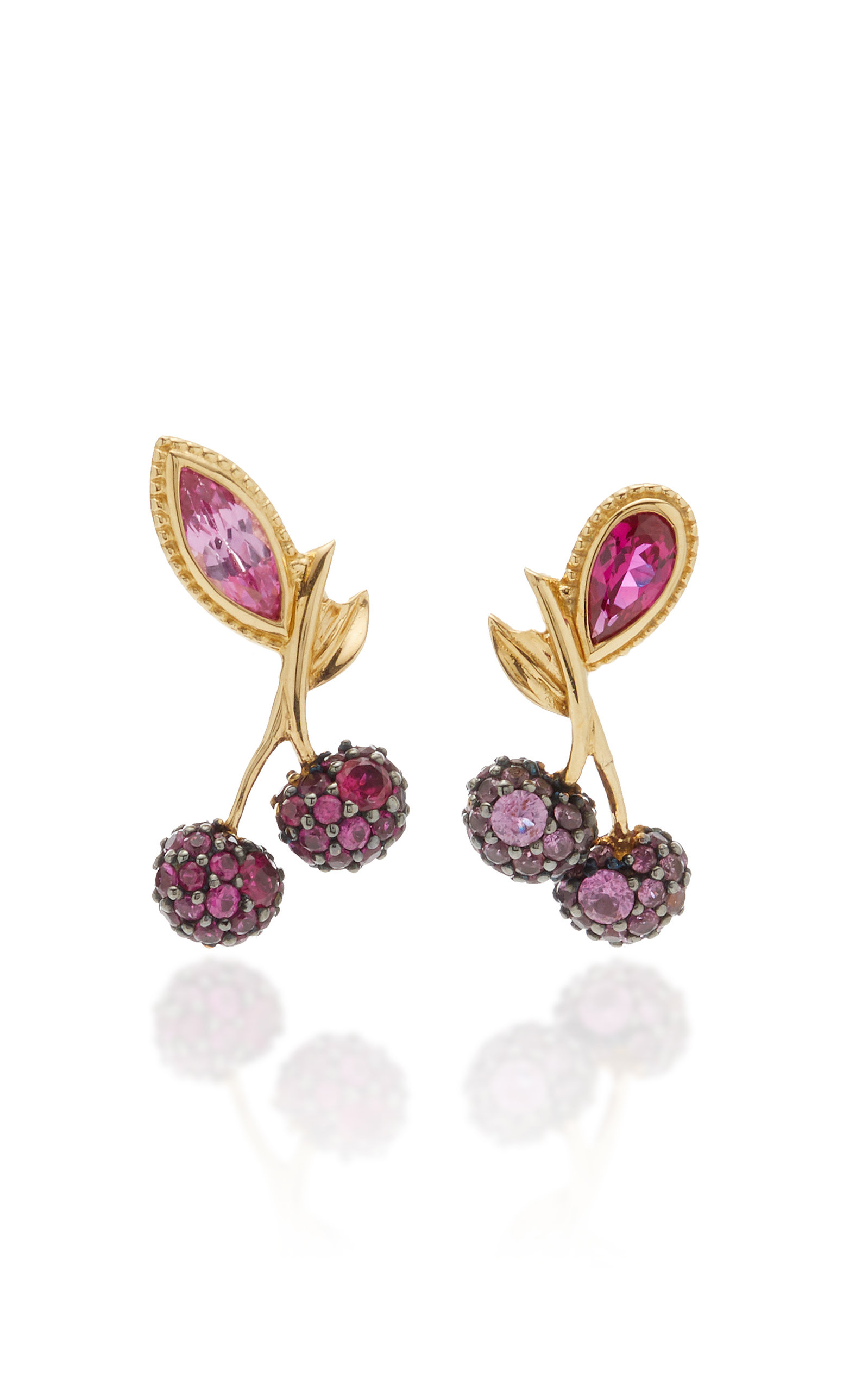 Women's Cherry 18K Gold Vermeil Ruby; Sapphire Earrings