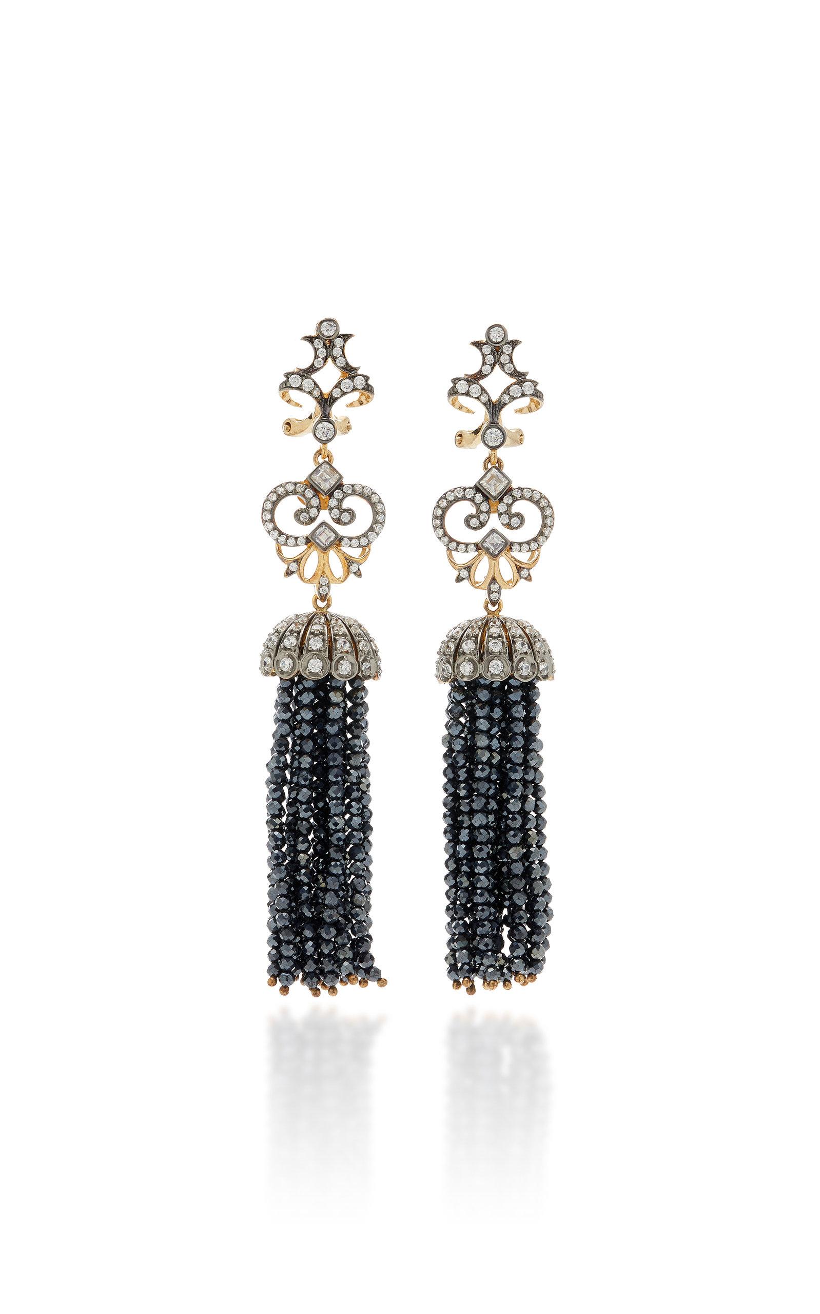 Women's Midnight 18K Black Gold Vermeil Onyx; Diamond Earrings
