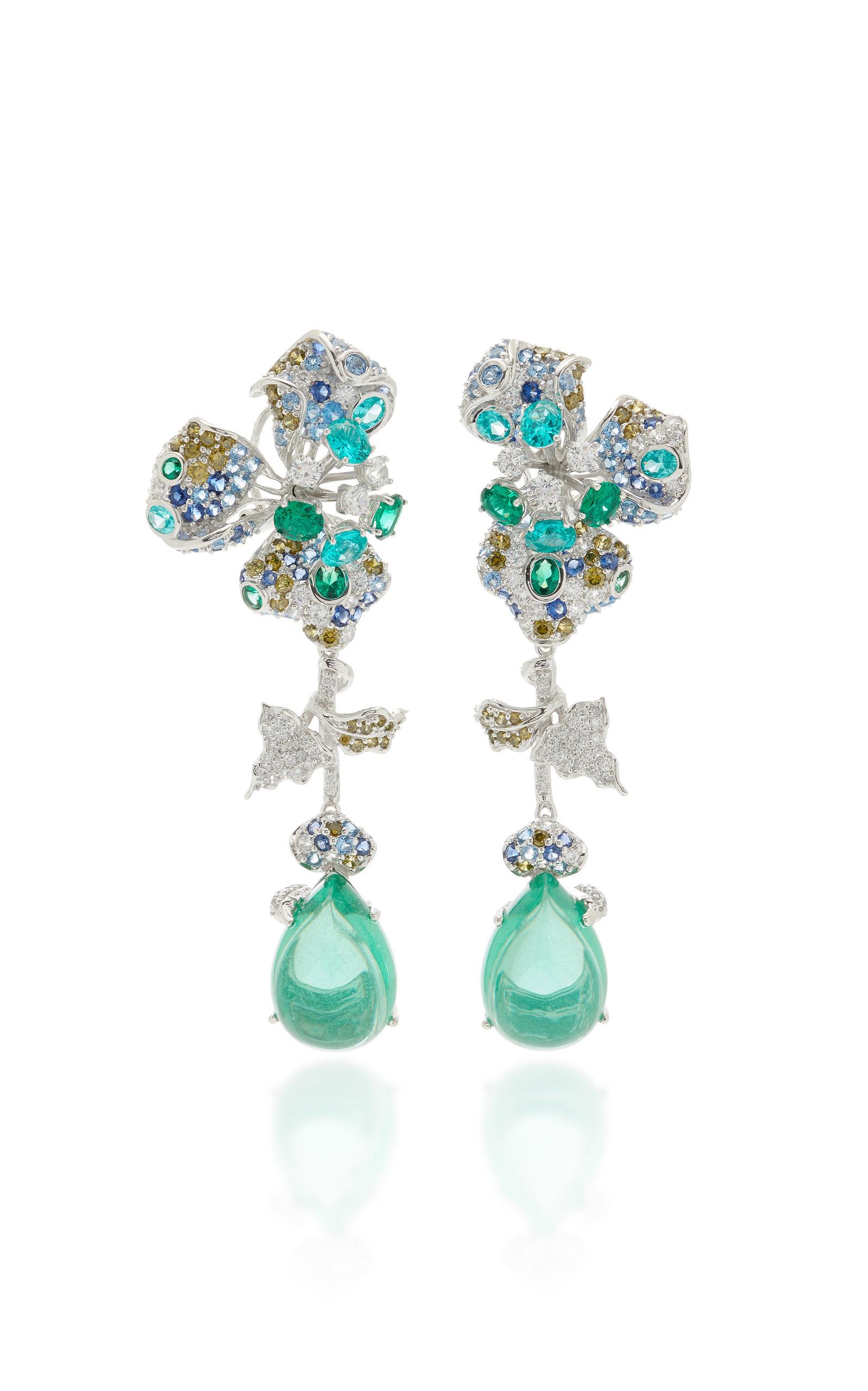 Women's Orchid 18K White Gold Vermeil Multi-Stone Earrings