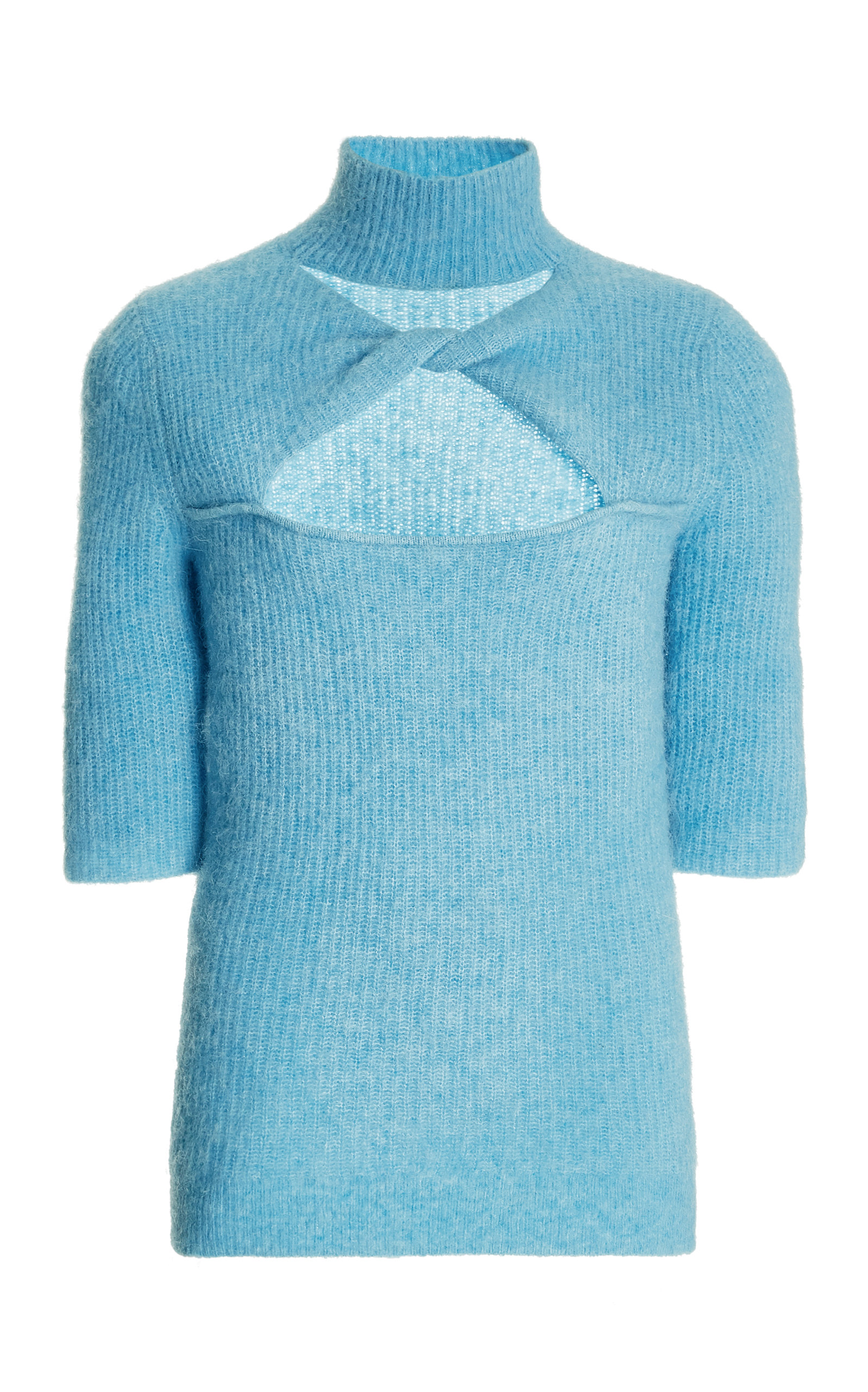 Ganni Wools WOMEN'S CUTOUT KNOTTED KNIT TOP