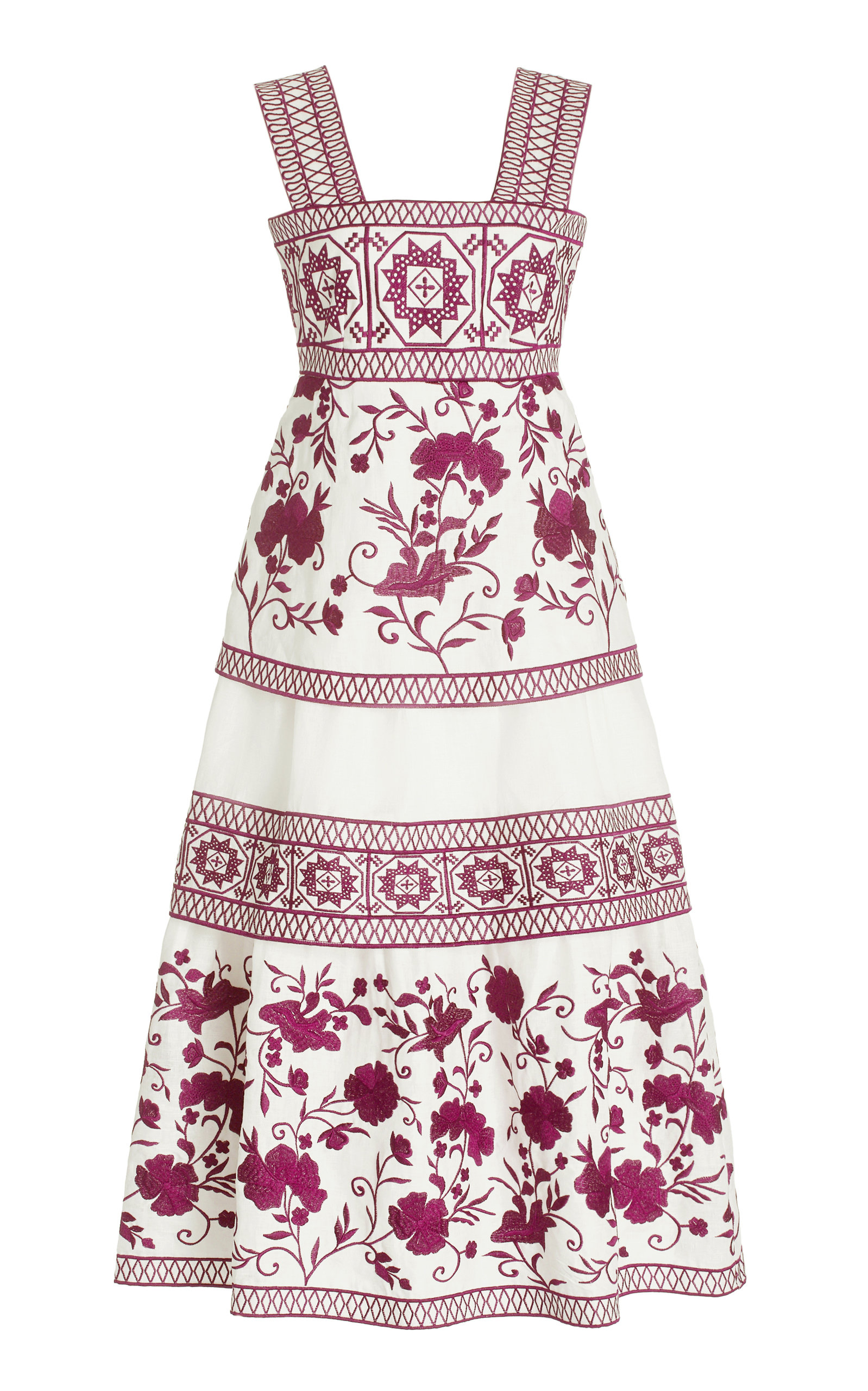 Alexis VERITY EMBROIDERED LINEN MIDI DRESS