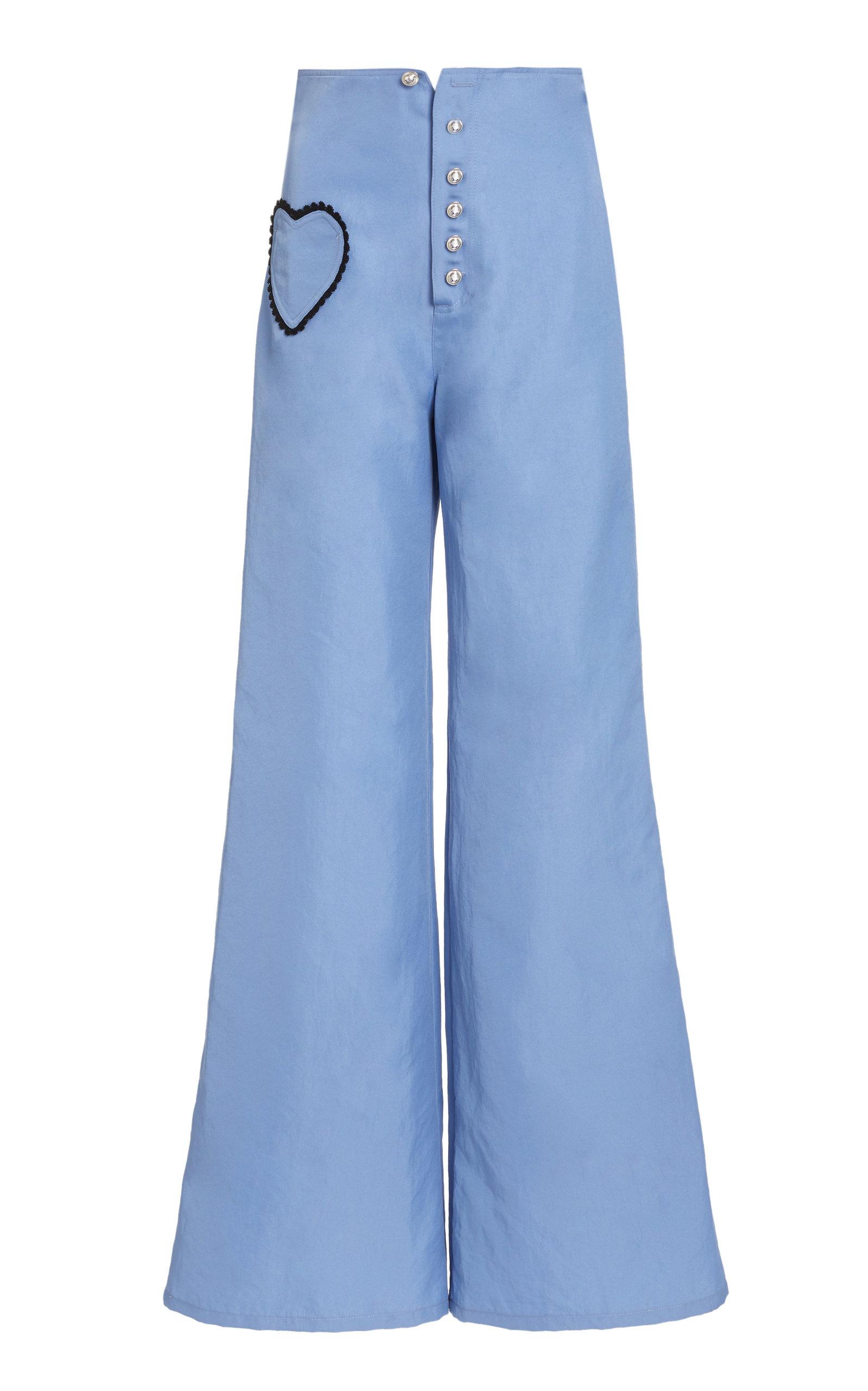 Rodarte Women's Lace Heart Pocket Flared Twill Pants In Medium Blue