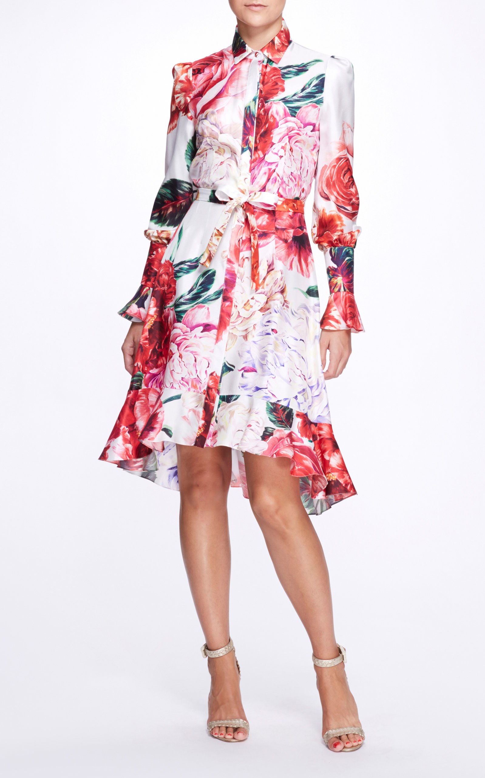 Marchesa FLORAL SILK SHIRT DRESS